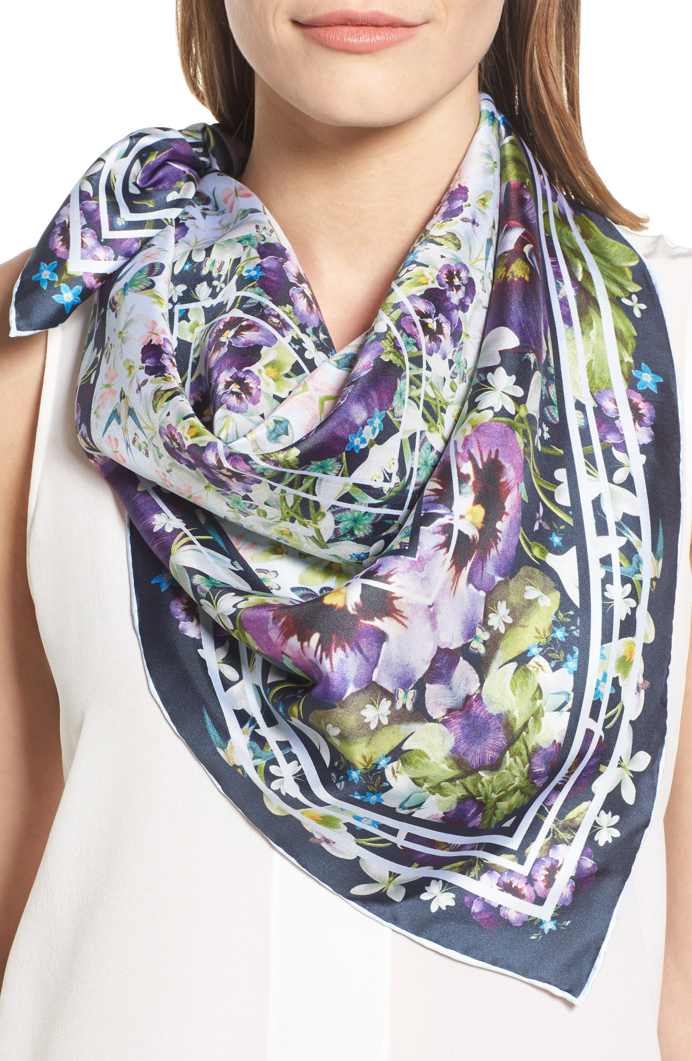 Ted Baker London Elodie Enchantment Square Silk Scarf