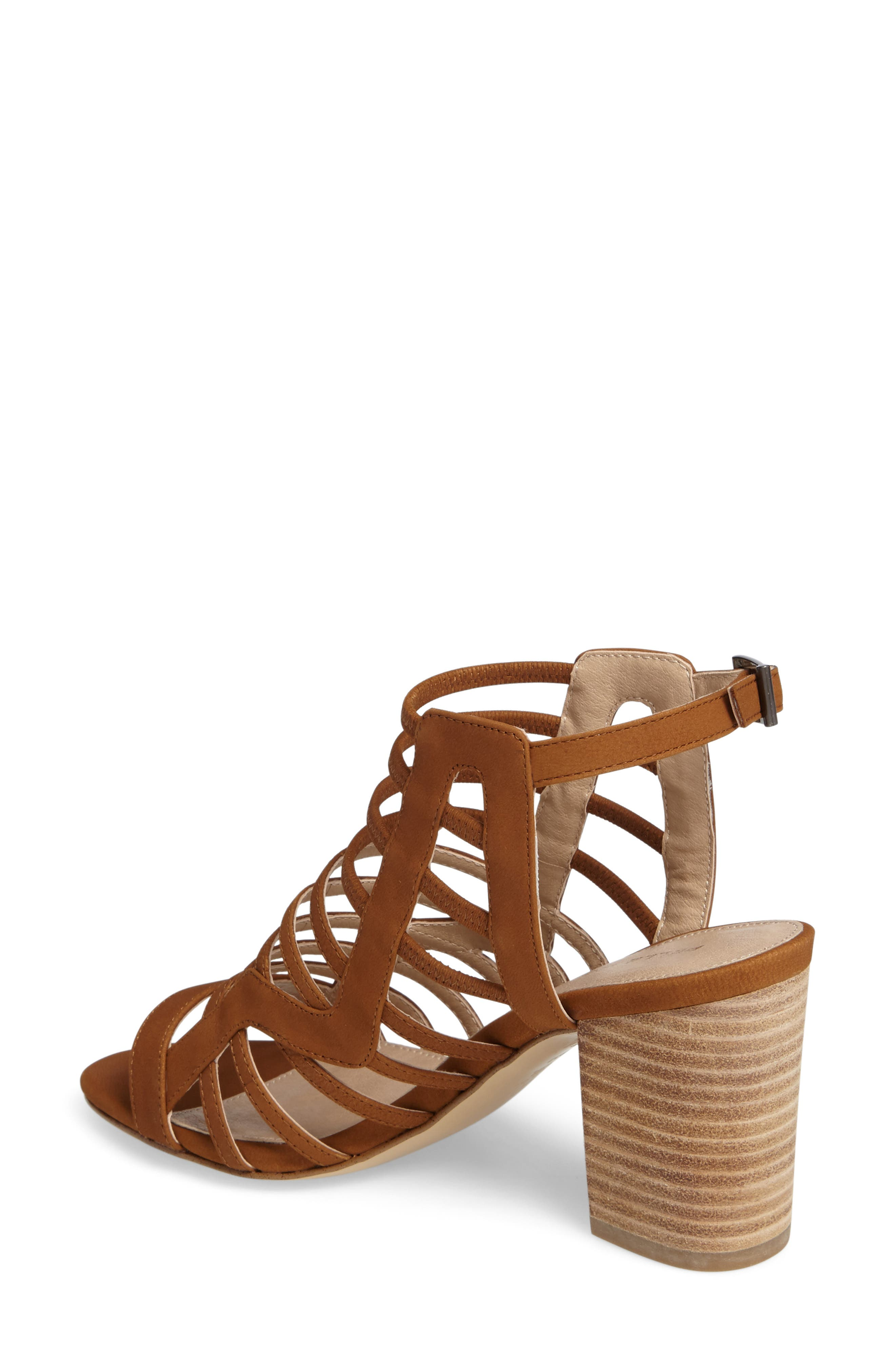 Bonitta Cage Sandal,                             Alternate thumbnail 2, color,                             Luggage Leather