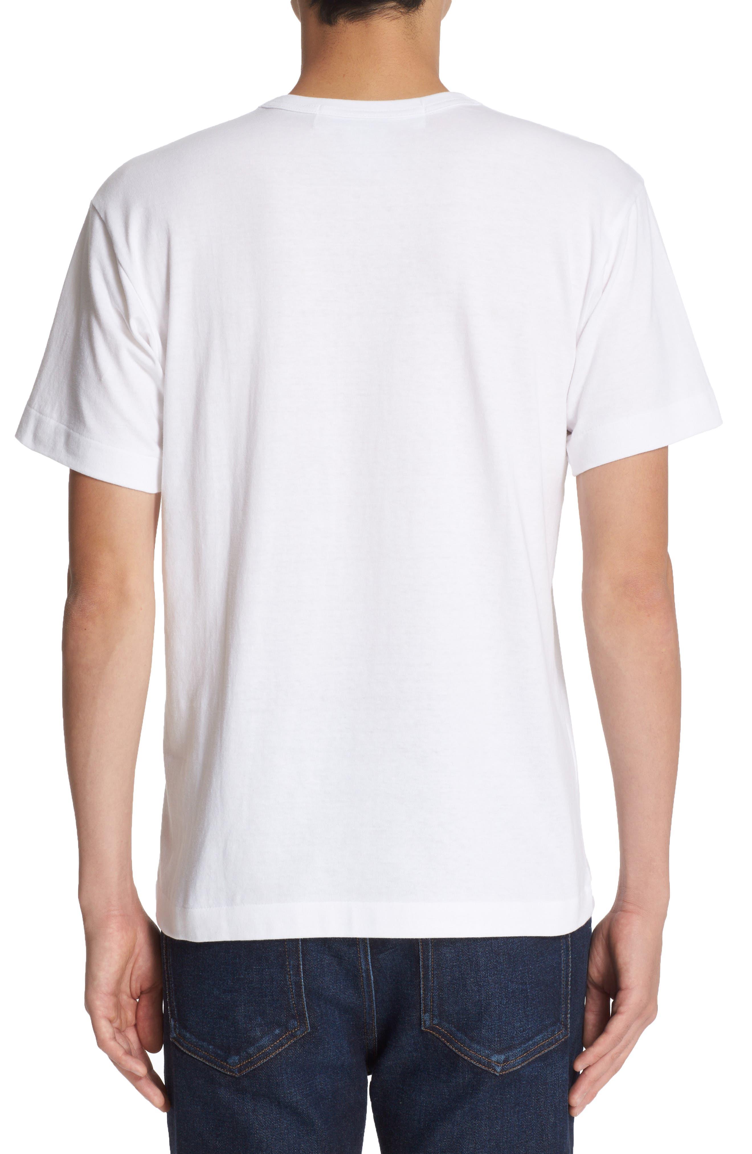 Comme des Garçons Play Stretch Face Heart T-Shirt,                             Alternate thumbnail 2, color,                             White