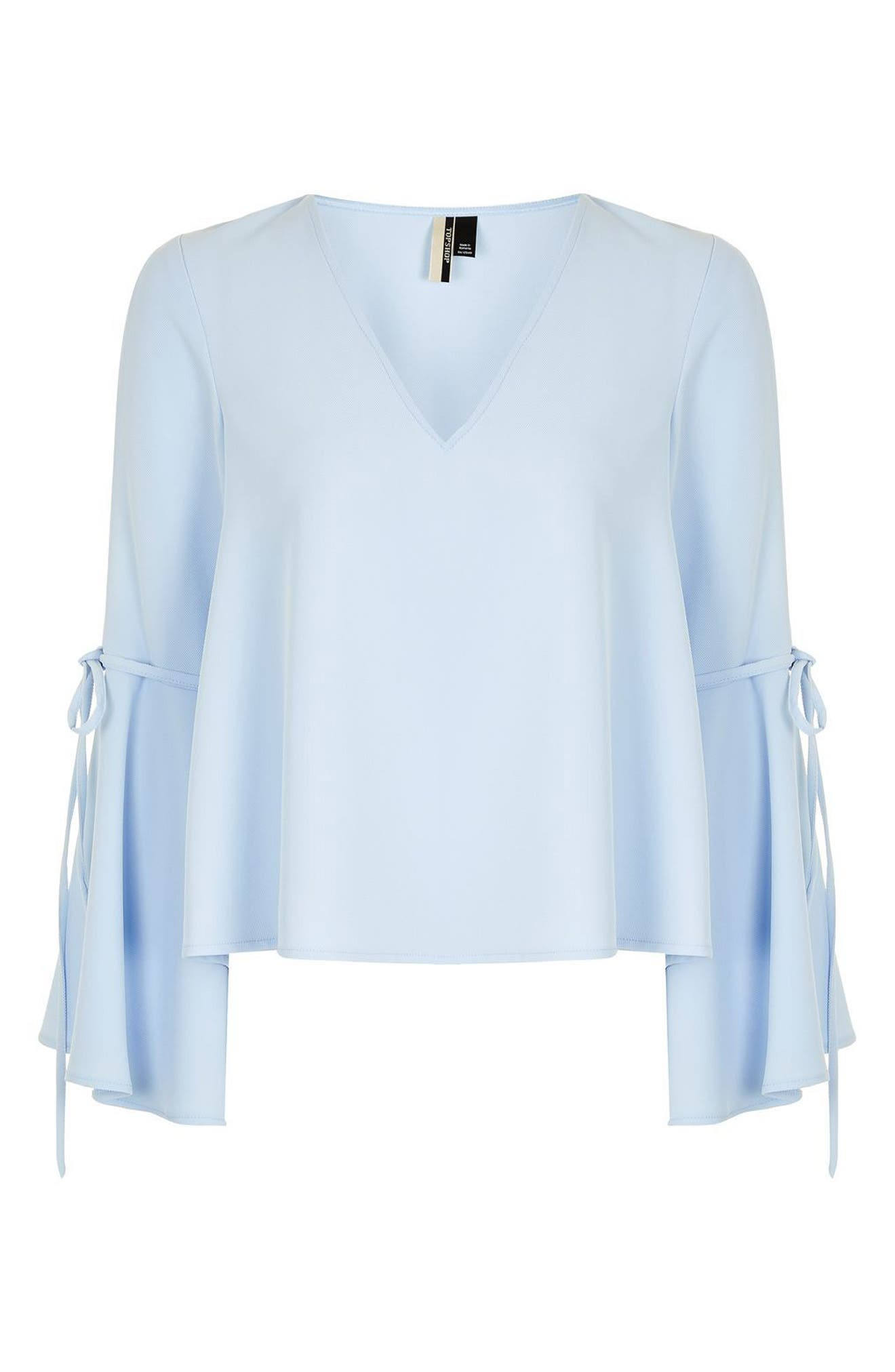 Alternate Image 3  - Topshop Tie Trumpet Sleeve Top