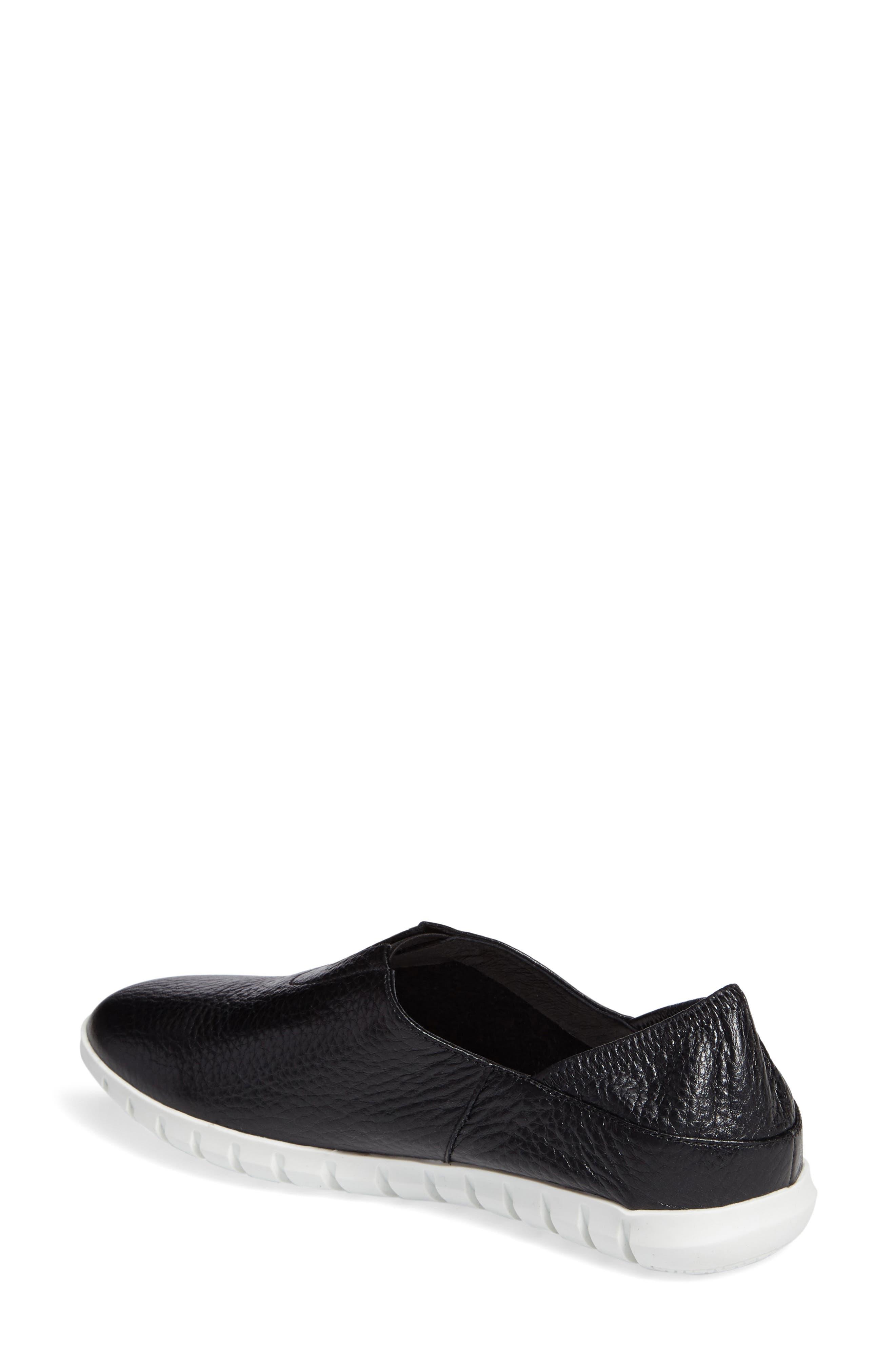 Kim Slip-On Sneaker,                             Alternate thumbnail 2, color,                             Black Leather