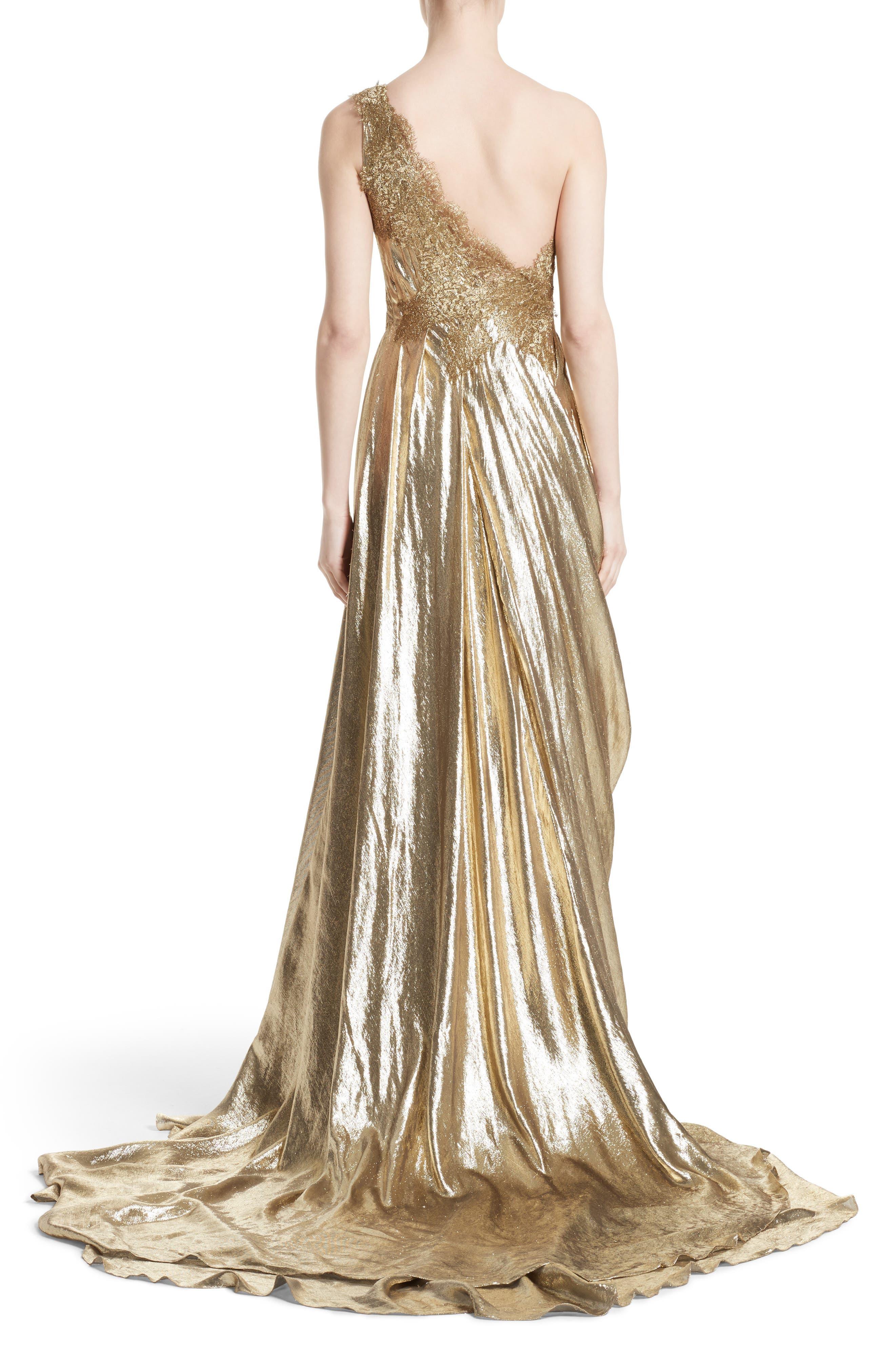 Alternate Image 2  - Marchesa Metallic Lace & Lamé One-Shoulder Gown