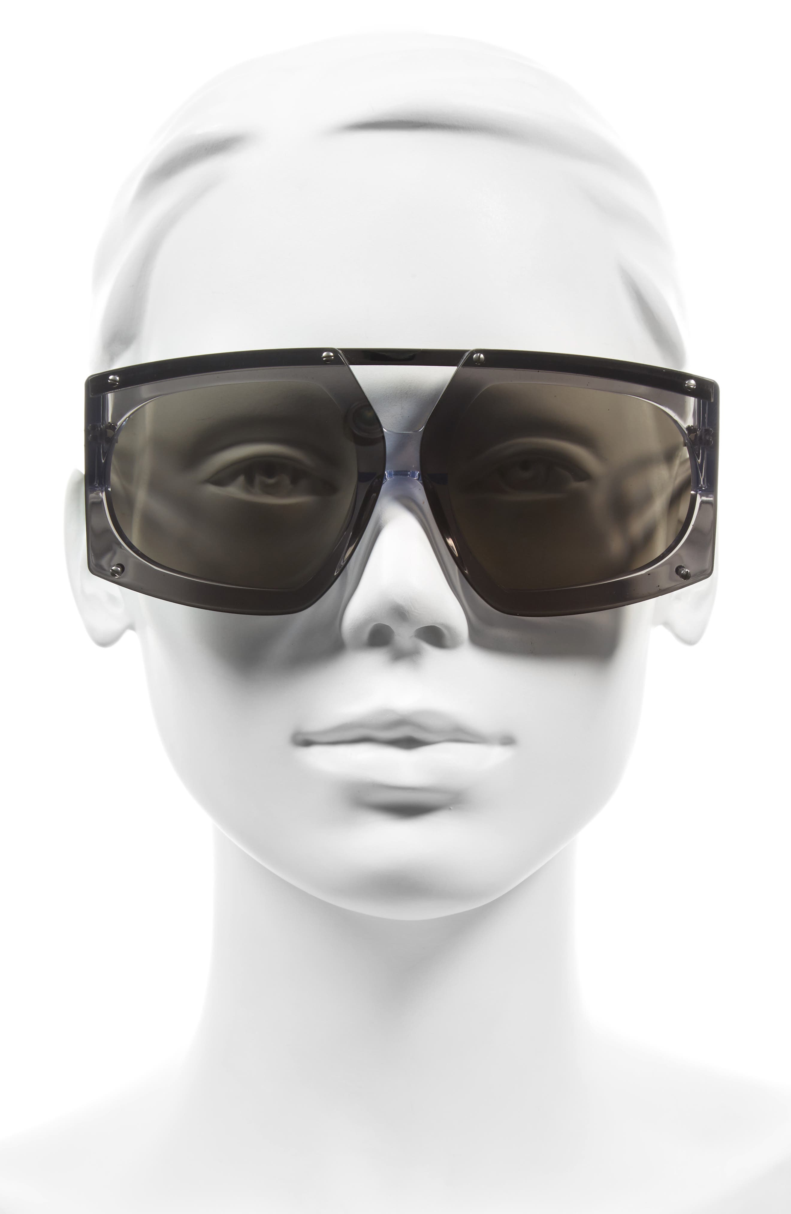 70mm Mirrored Oversized Sunglasses,                             Alternate thumbnail 2, color,                             Crystal Clear/ Silver