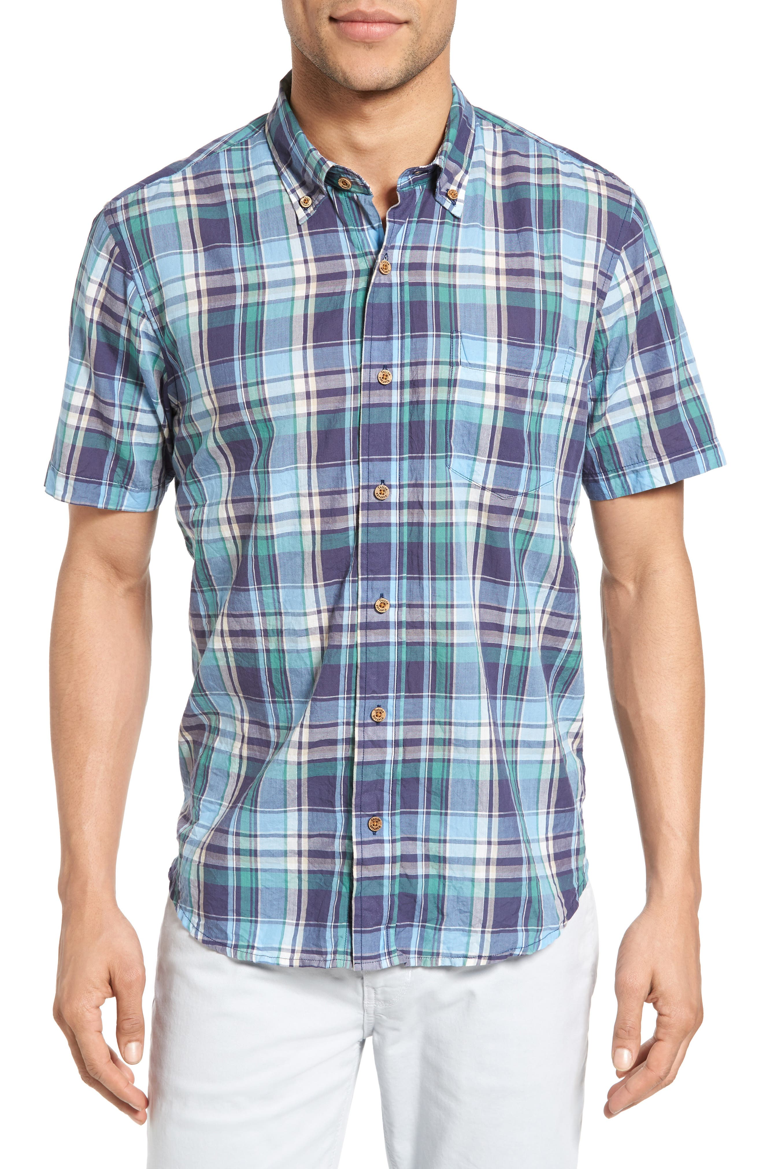 Crinkle Plaid Sport Shirt,                         Main,                         color, Ocean View Plaid