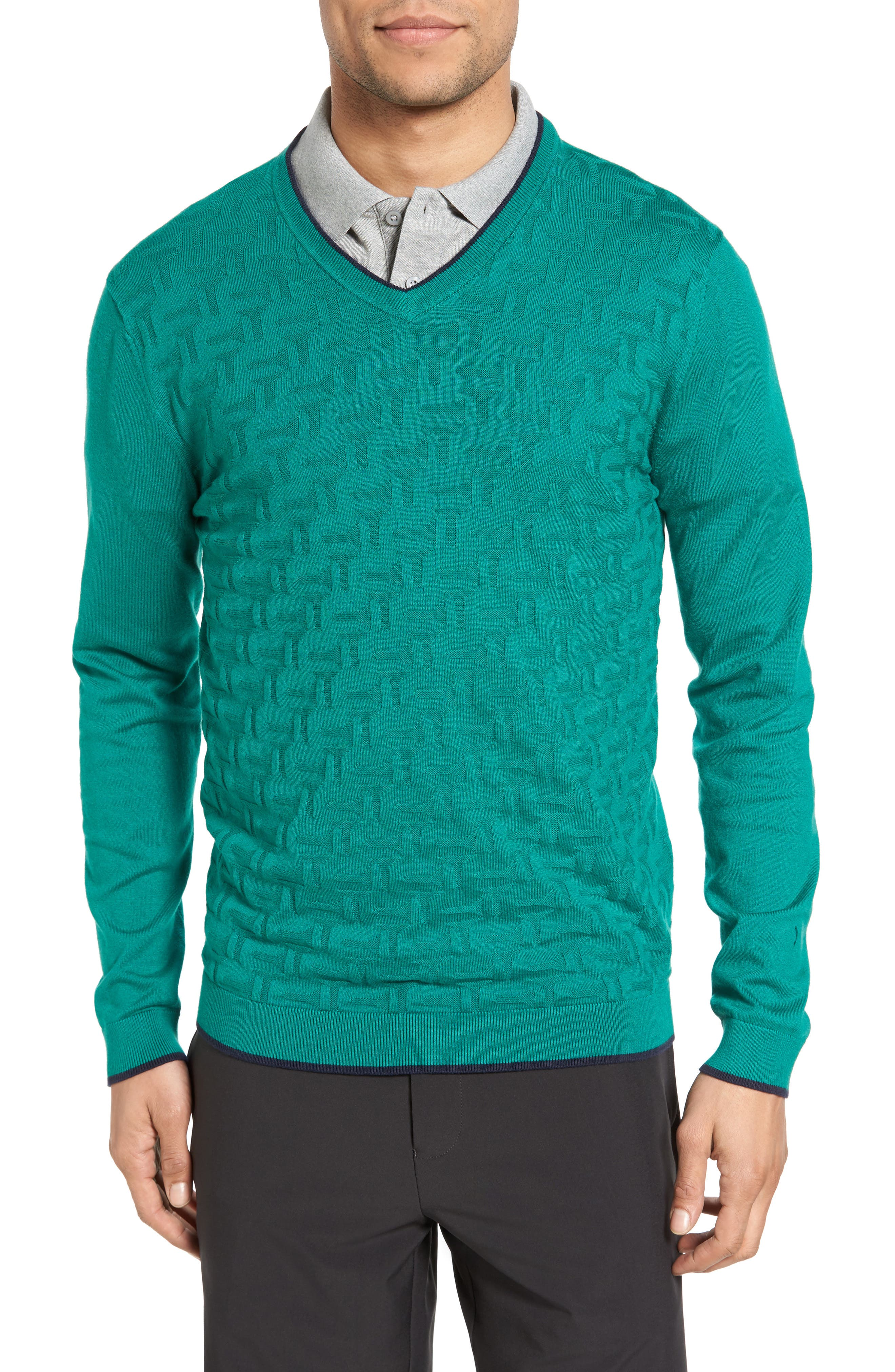 Ted Baker London Armstro Tipped Golf Tee Sweater