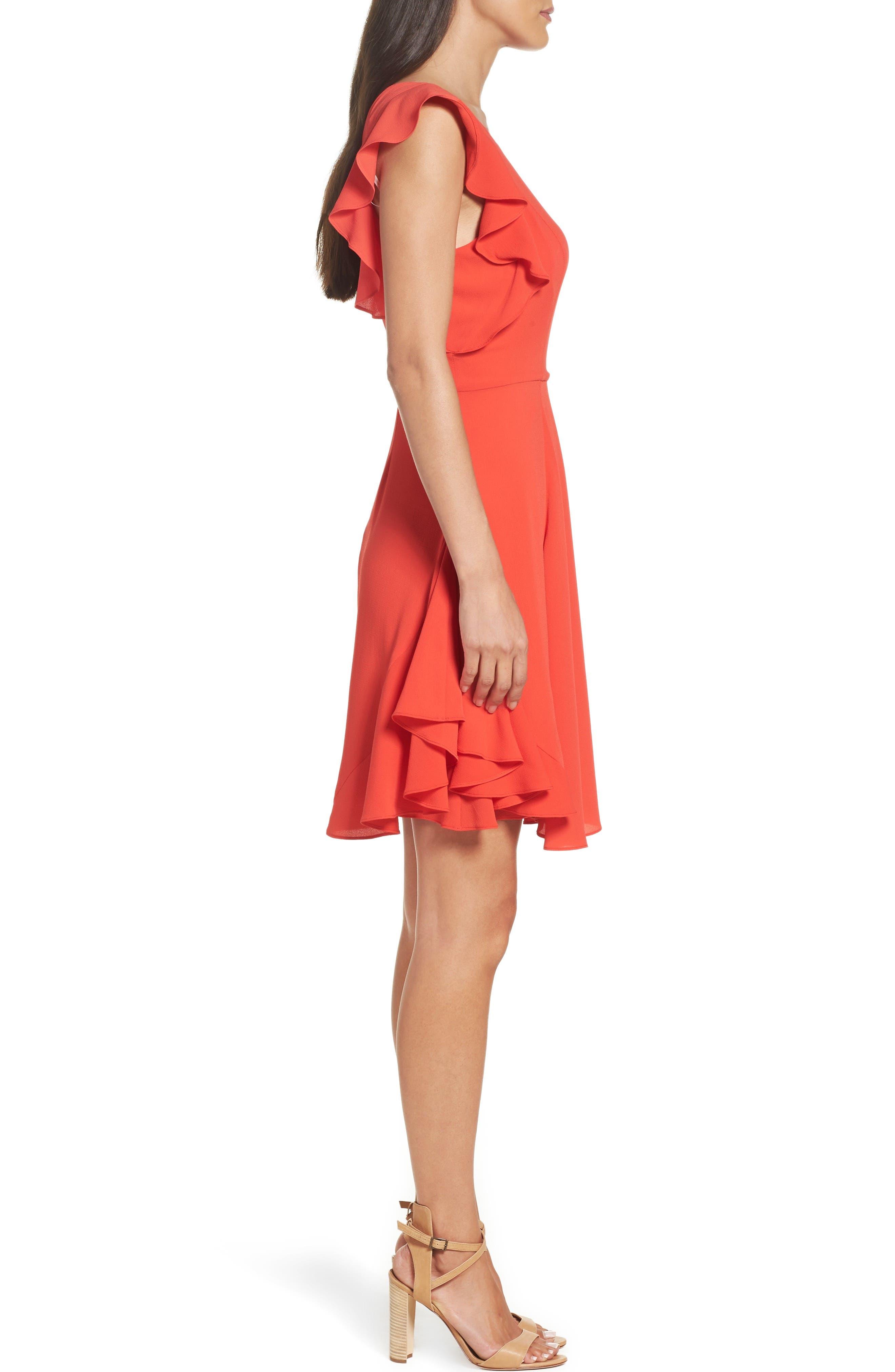 Ruffle Fit & Flare Dress,                             Alternate thumbnail 3, color,                             Raspberry