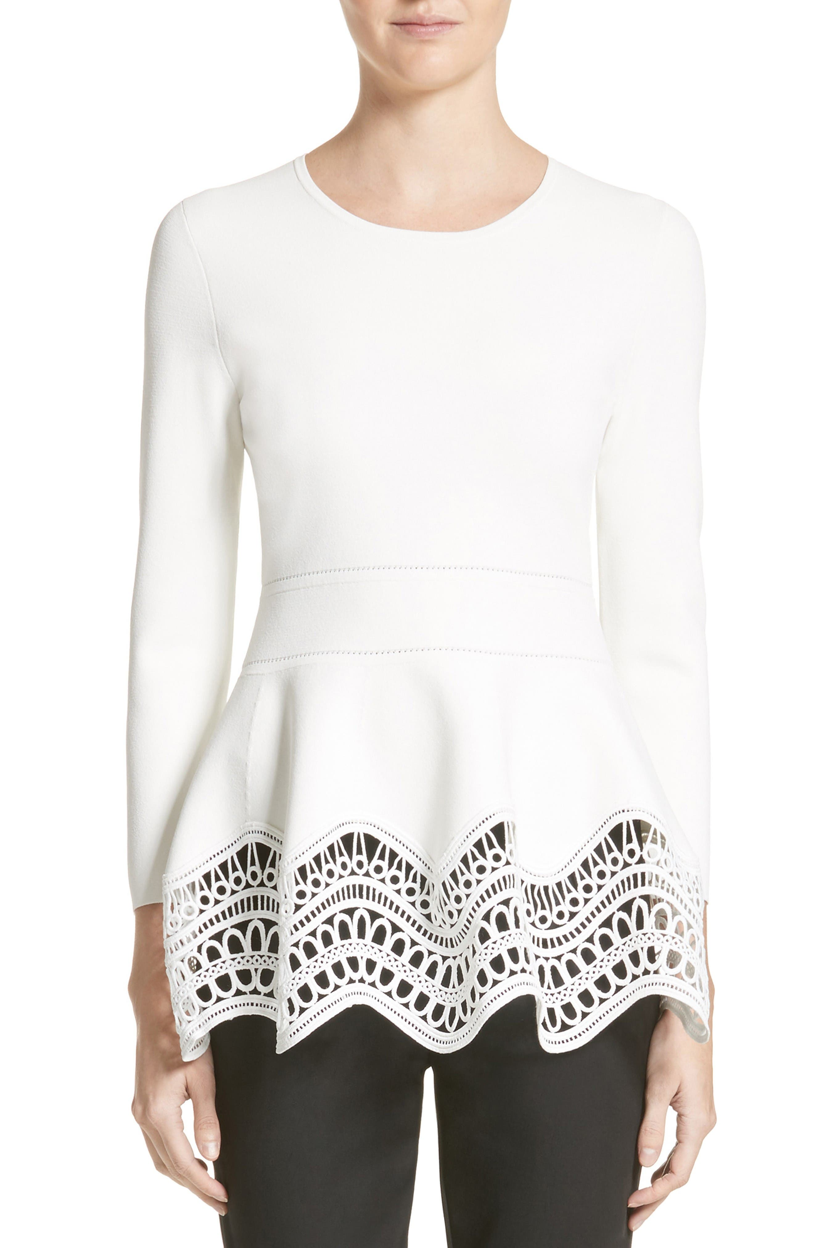 Wave Lace Hem Top,                             Main thumbnail 1, color,                             White