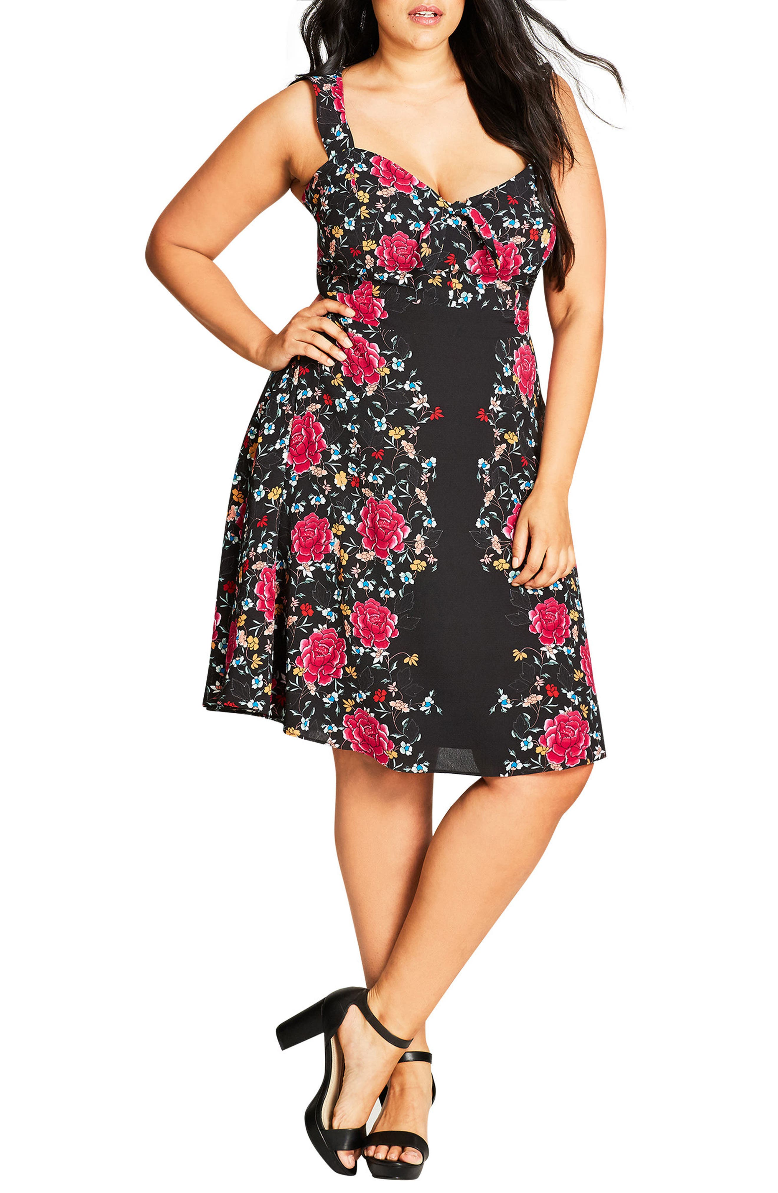 City Chic Tapestry Print Fit & Flare Dress (Plus Size)