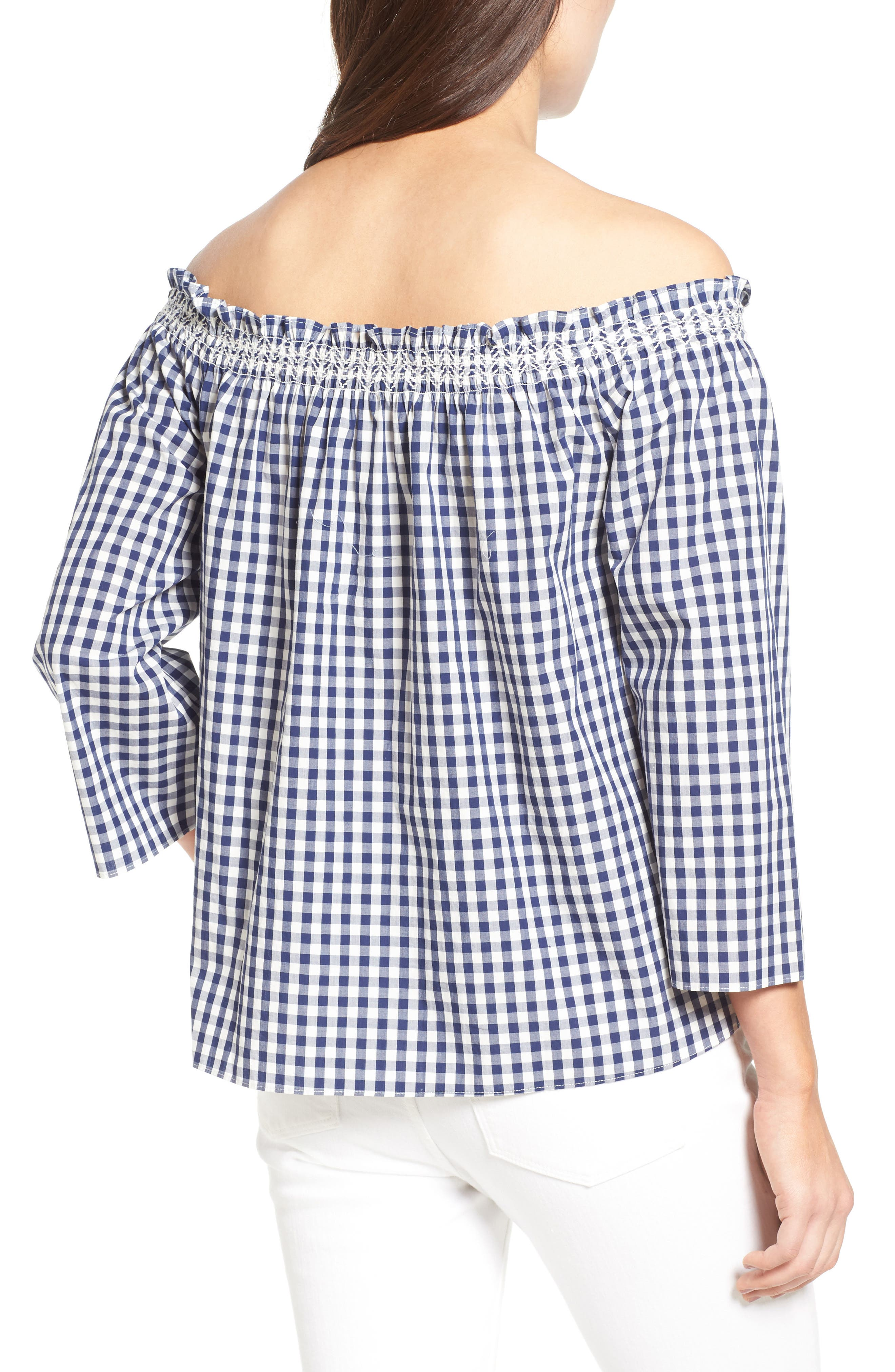 Smocked Gingham Off the Shoulder Top,                             Alternate thumbnail 2, color,                             Moonless Night