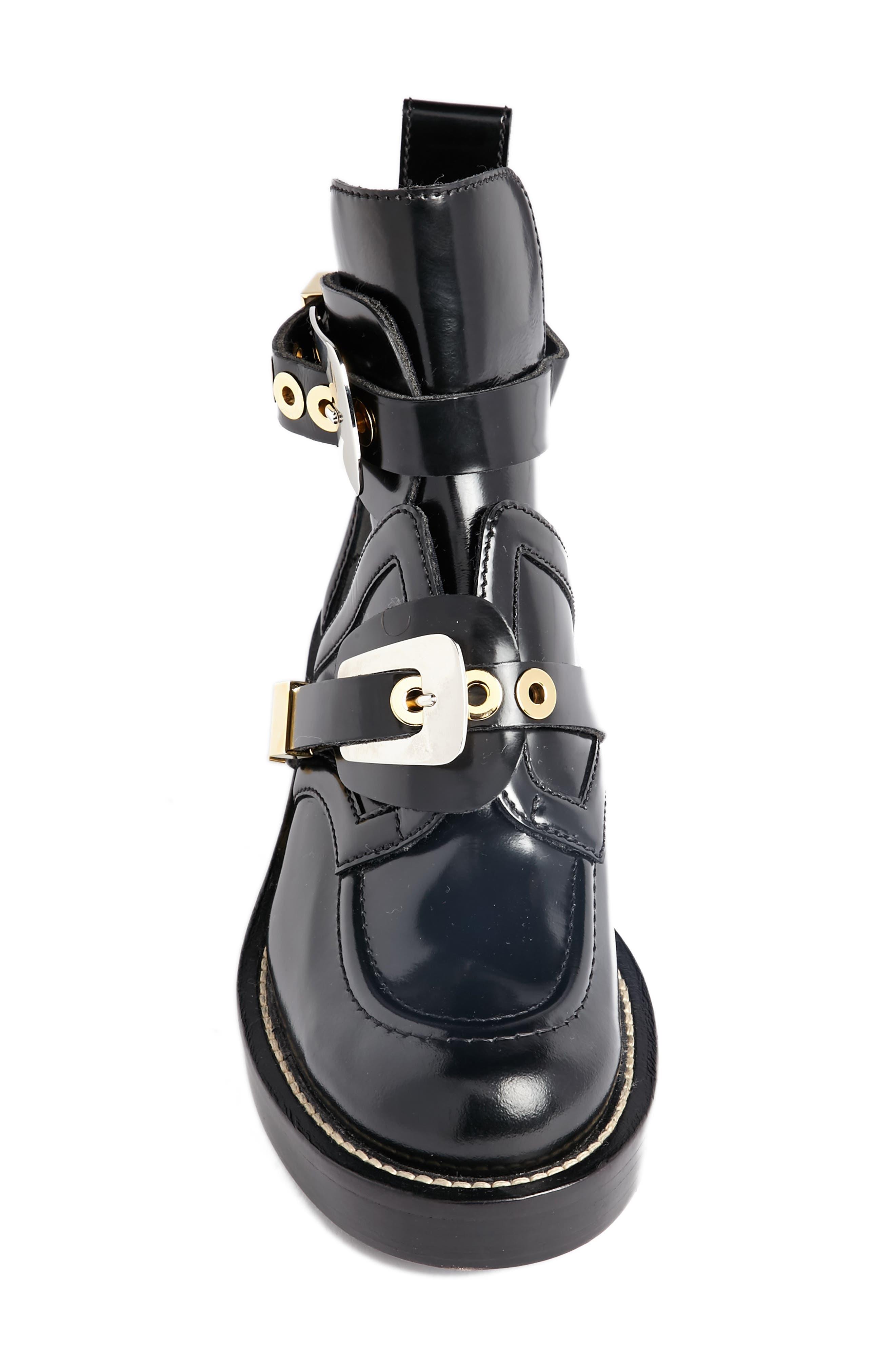 Cutout Buckle Boot,                             Alternate thumbnail 4, color,                             Black Calf