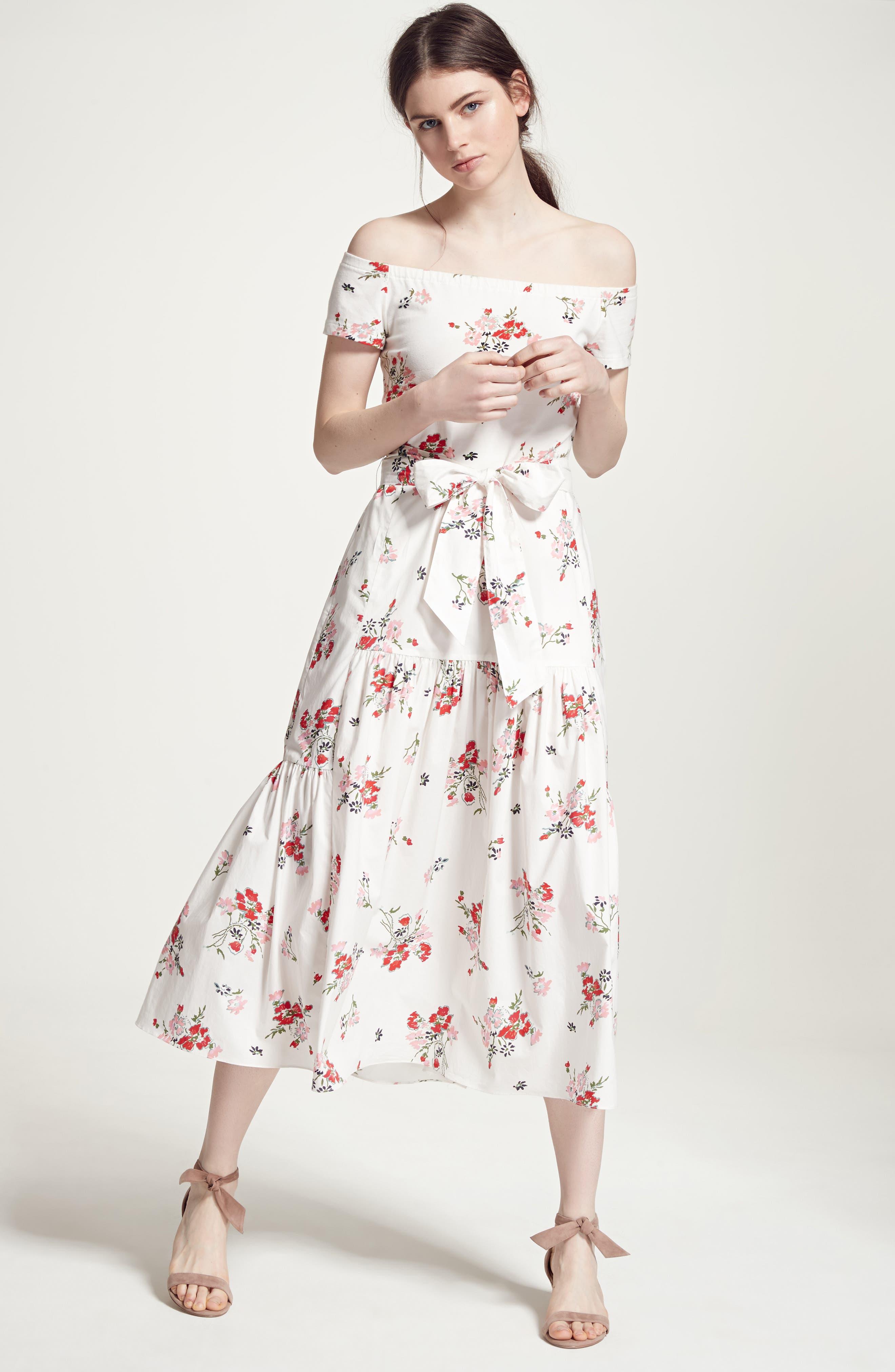 Marguerite Floral Off the Shoulder Midi Dress,                             Alternate thumbnail 2, color,                             Snow