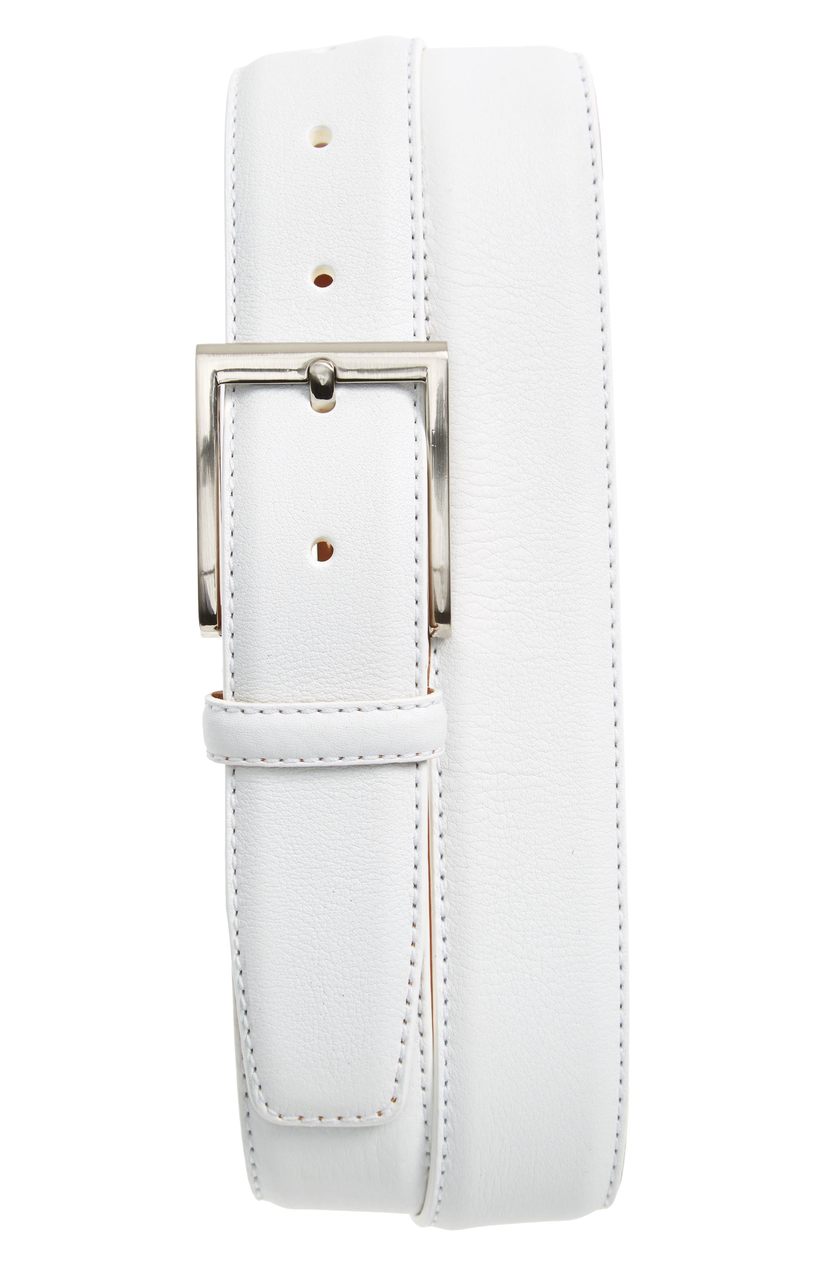 Rugo Leather Belt,                             Main thumbnail 1, color,                             White