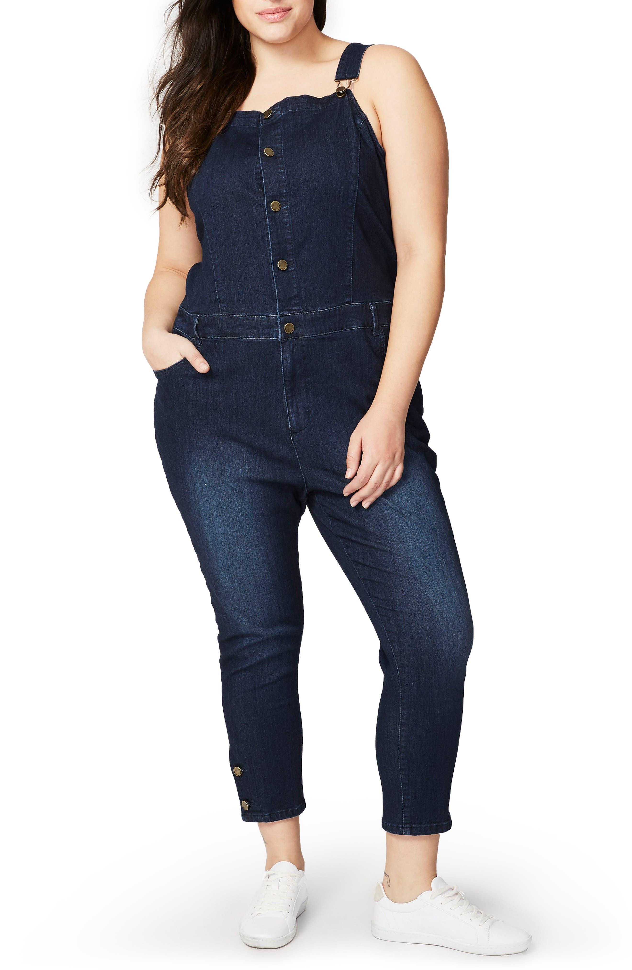 Main Image - RACHEL Rachel Roy Crop Skinny Overalls (Plus Size)