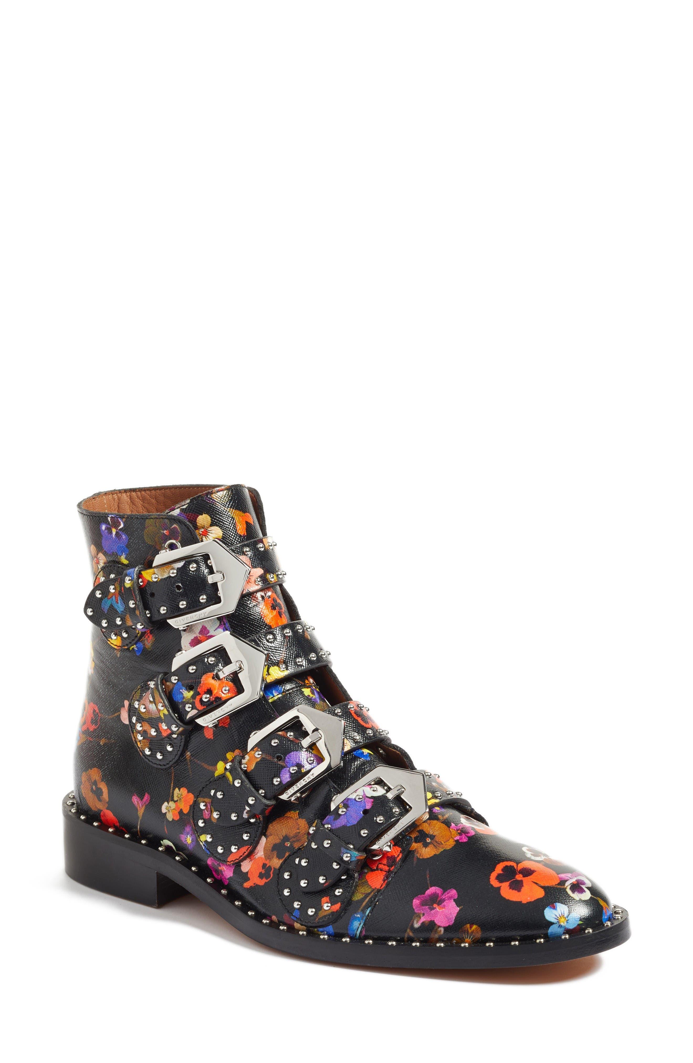 Prue Ankle Boot,                             Main thumbnail 1, color,                             Black Floral