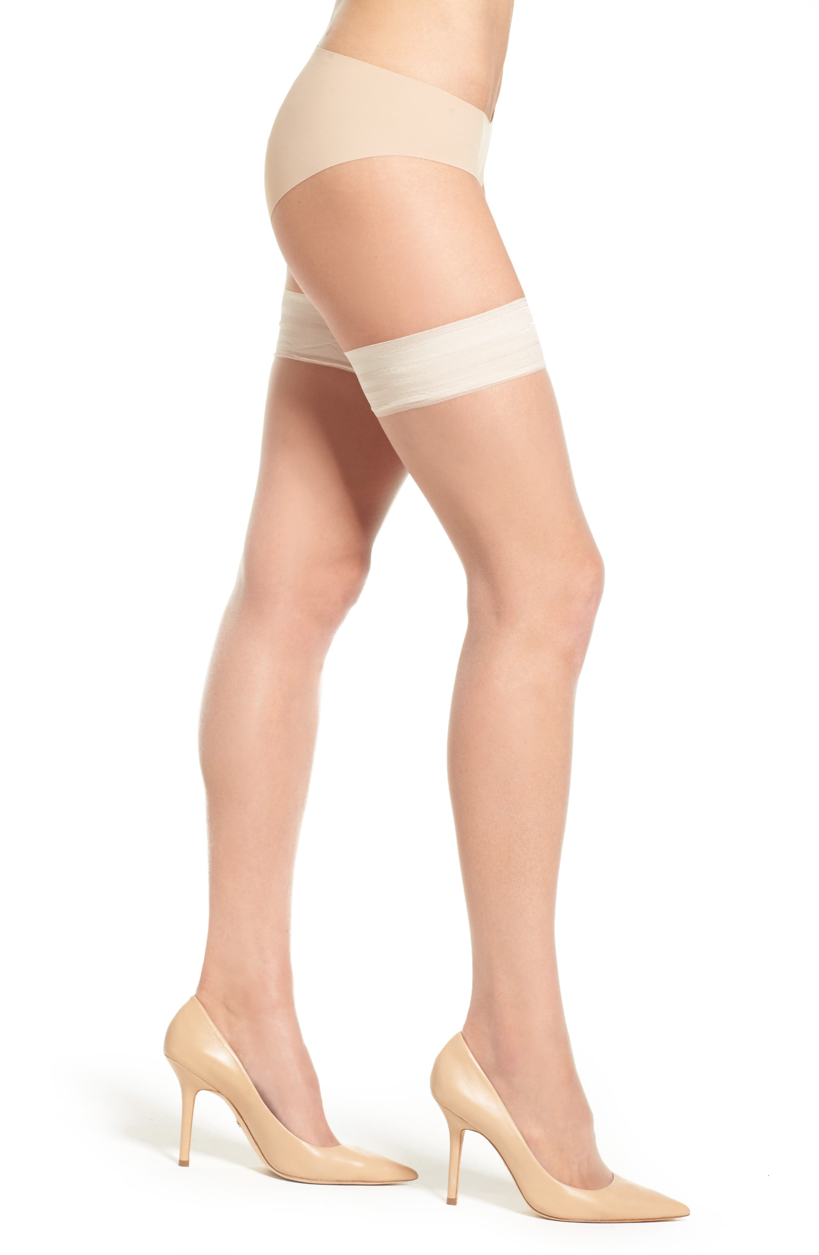 Donna Karan Beyond The Nudes Stay-Up Stockings,                             Main thumbnail 1, color,                             A01