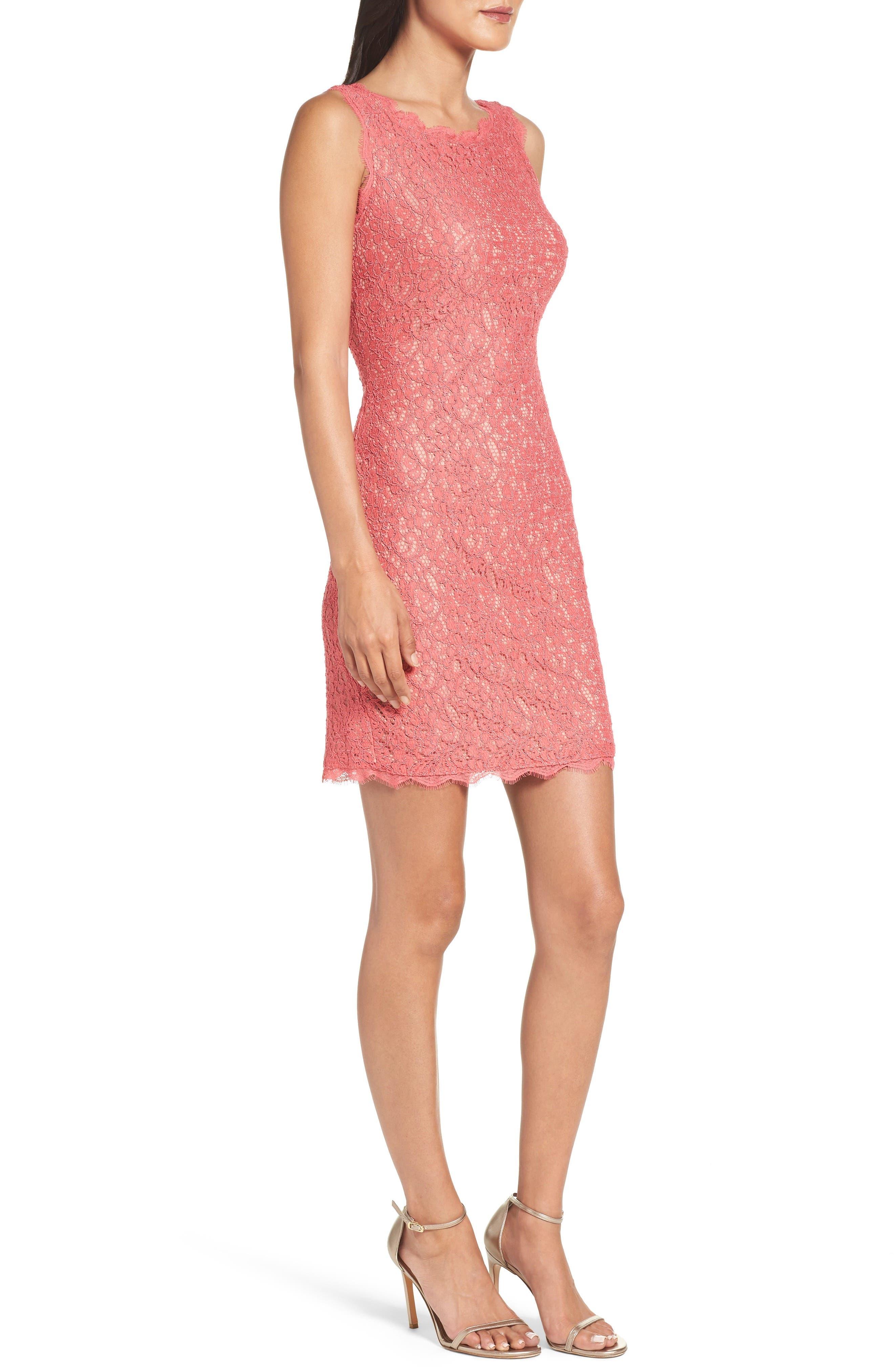 Alternate Image 3  - Adrianna Papell Boatneck Lace Sheath Dress (Regular & Petite)