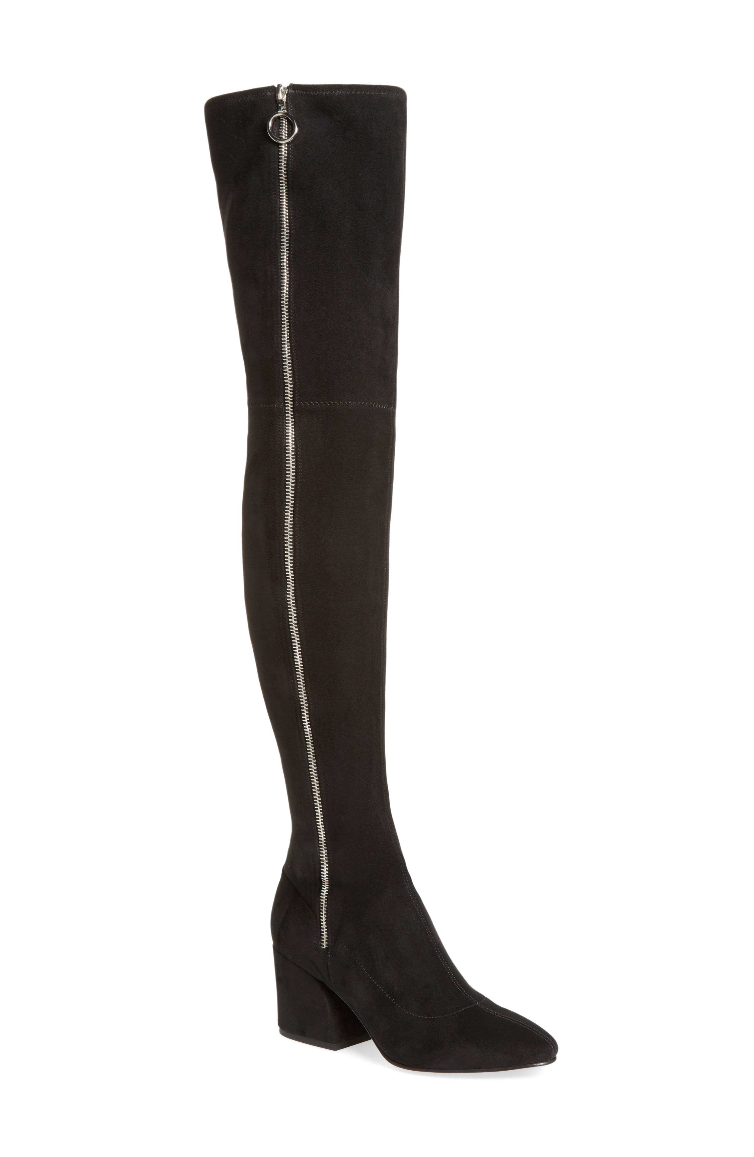 Vix Thigh High Boot,                         Main,                         color, Black Suede
