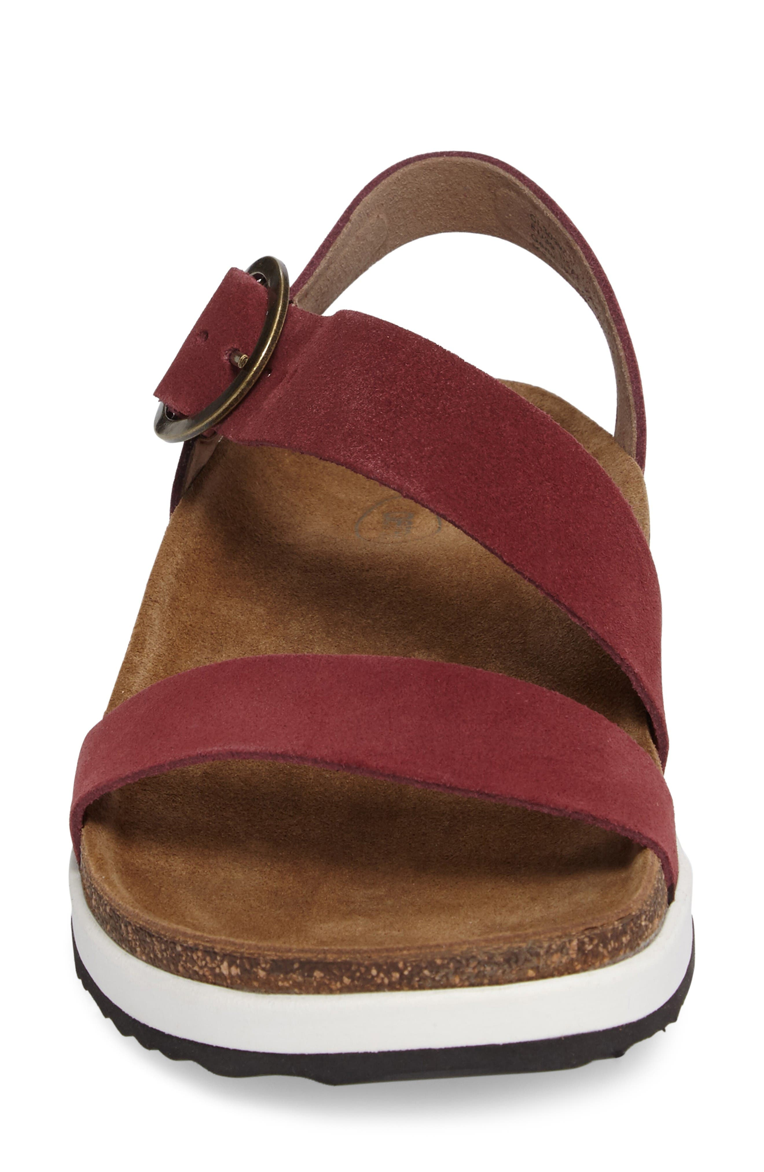 Adrianna Sandal,                             Alternate thumbnail 4, color,                             Maroon Suede