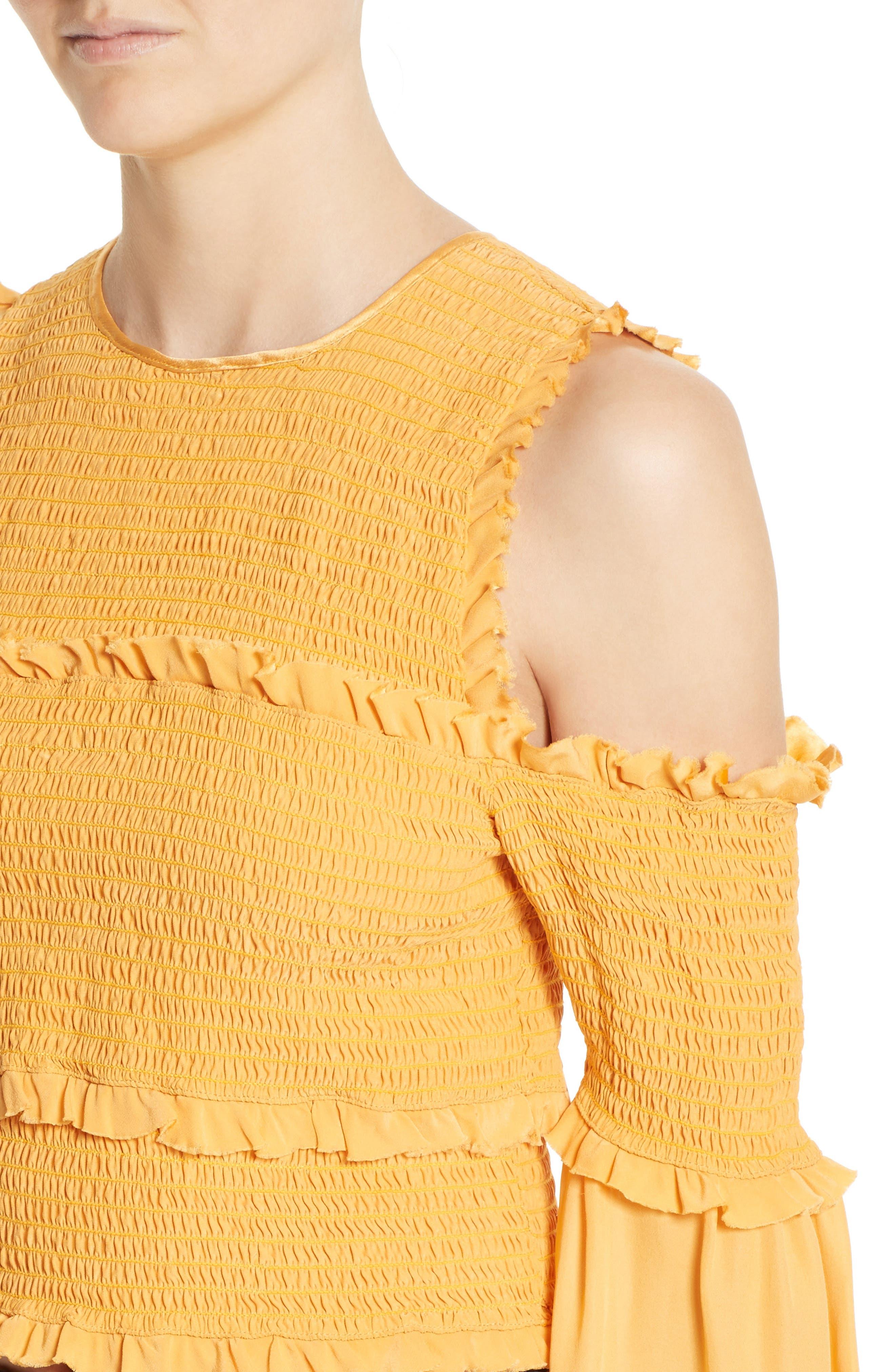 Alternate Image 4  - Cinq à Sept Pascal Silk Cold Shoulder Top