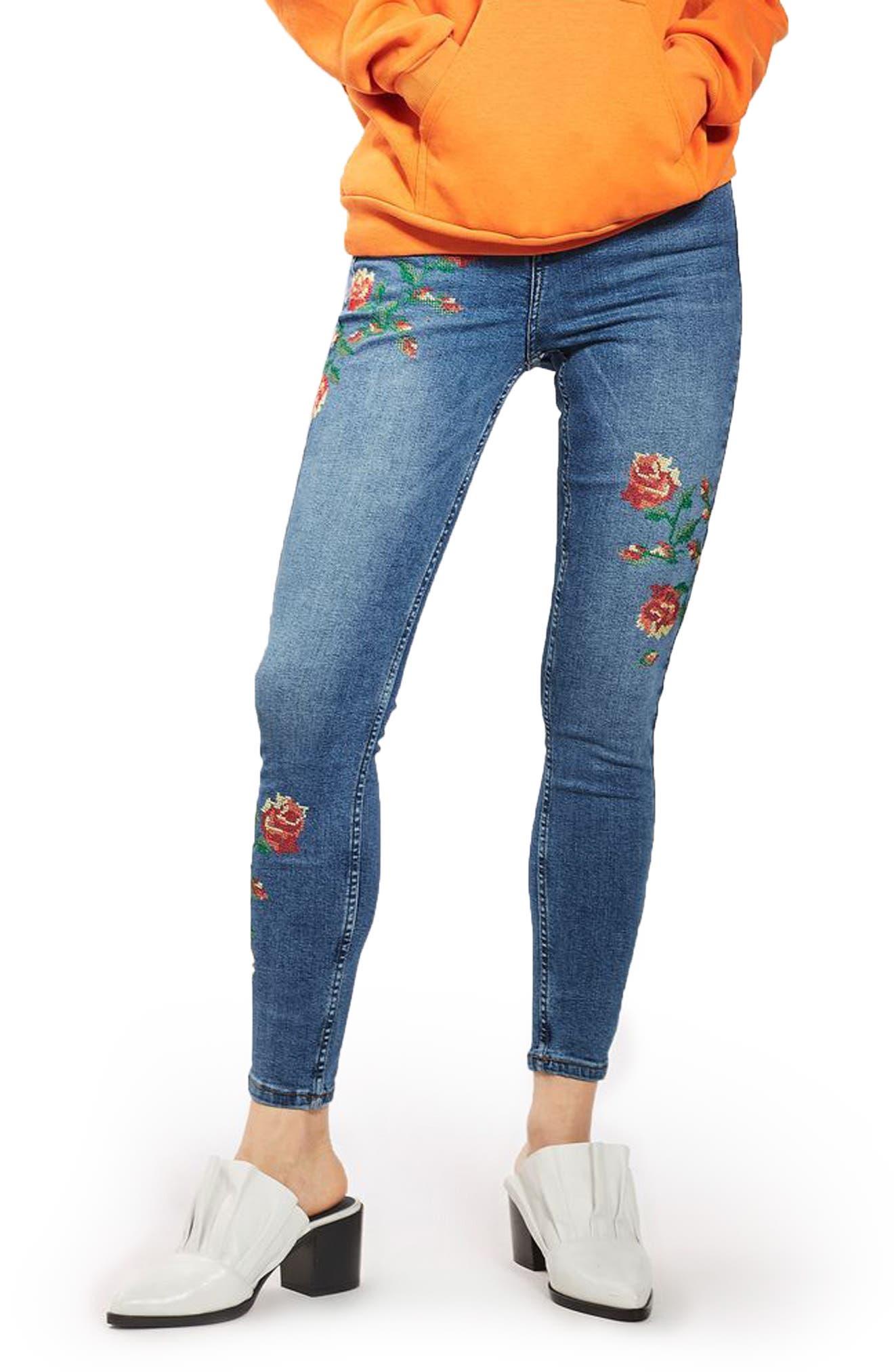 Jamie Embroidered Skinny Jeans,                         Main,                         color, Mid Denim