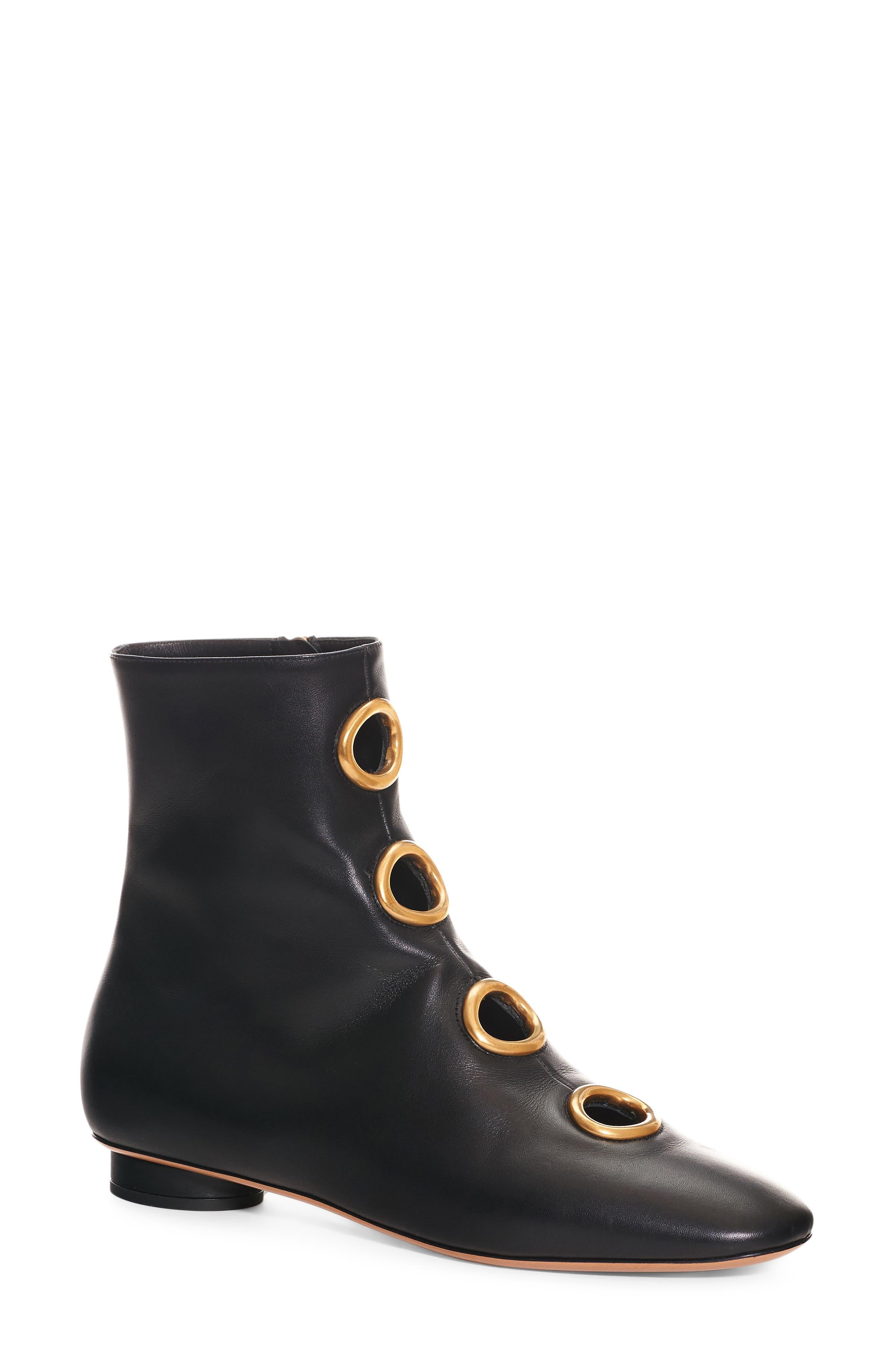 Grommet Boot,                         Main,                         color, Black Leather