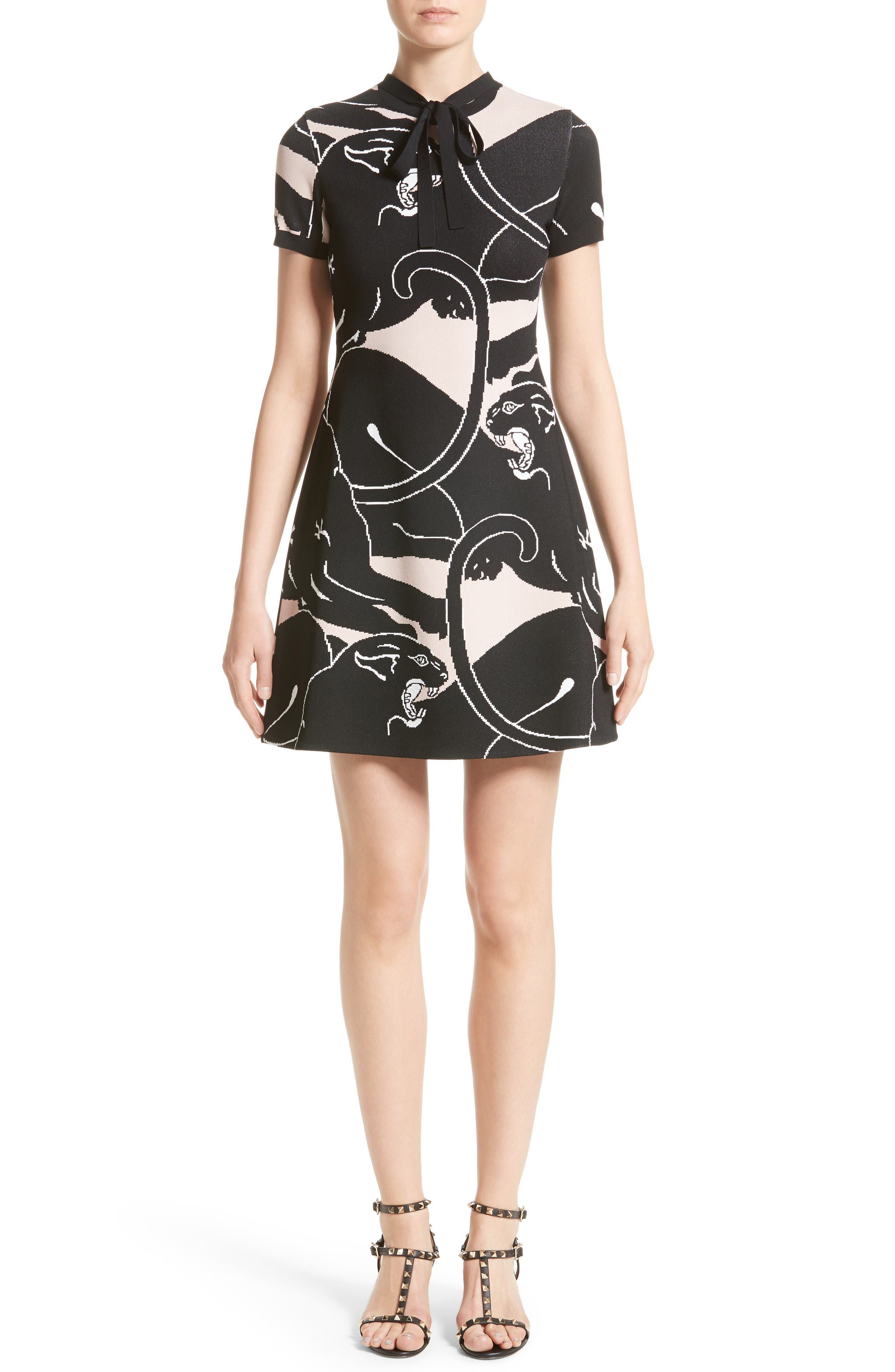 Main Image - Valentino Jacquard Panther Print Dress