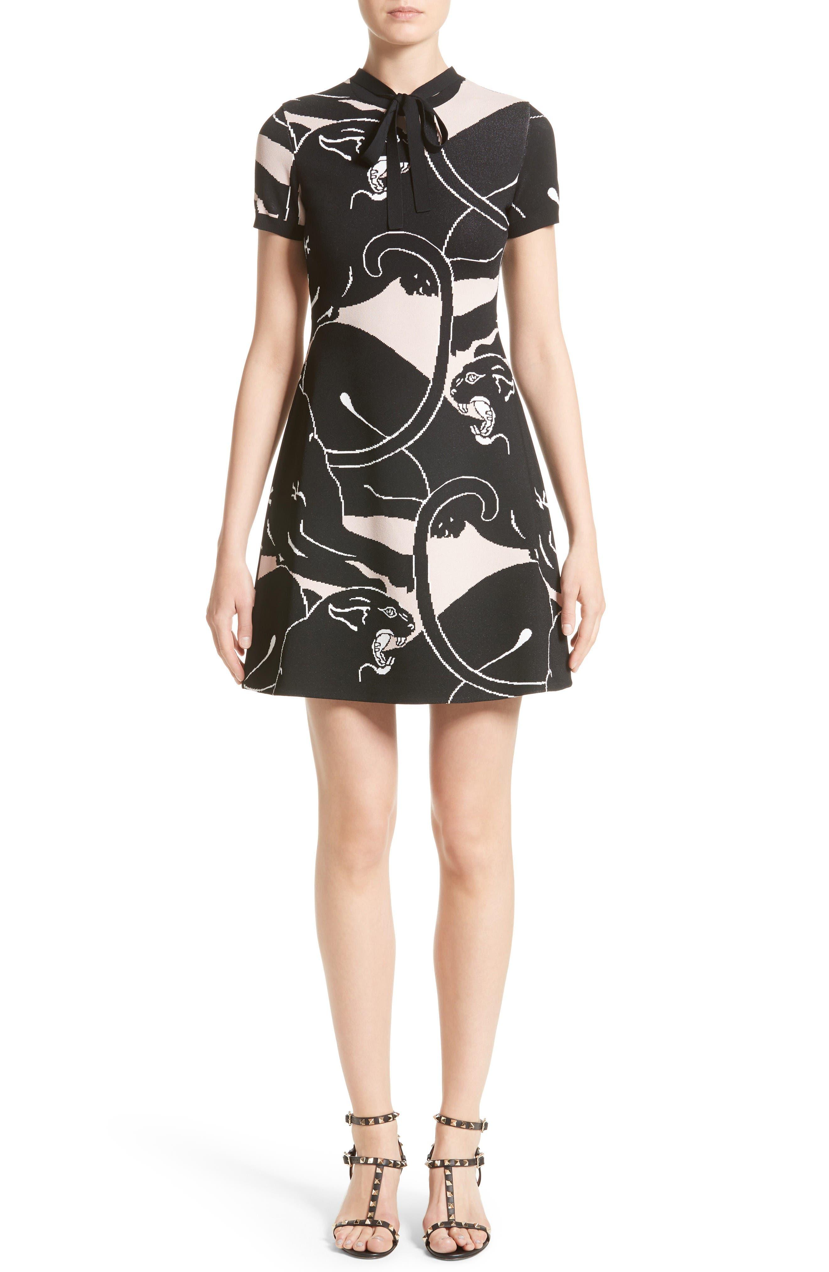 Jacquard Panther Print Dress,                         Main,                         color, Wild Rose/ Black