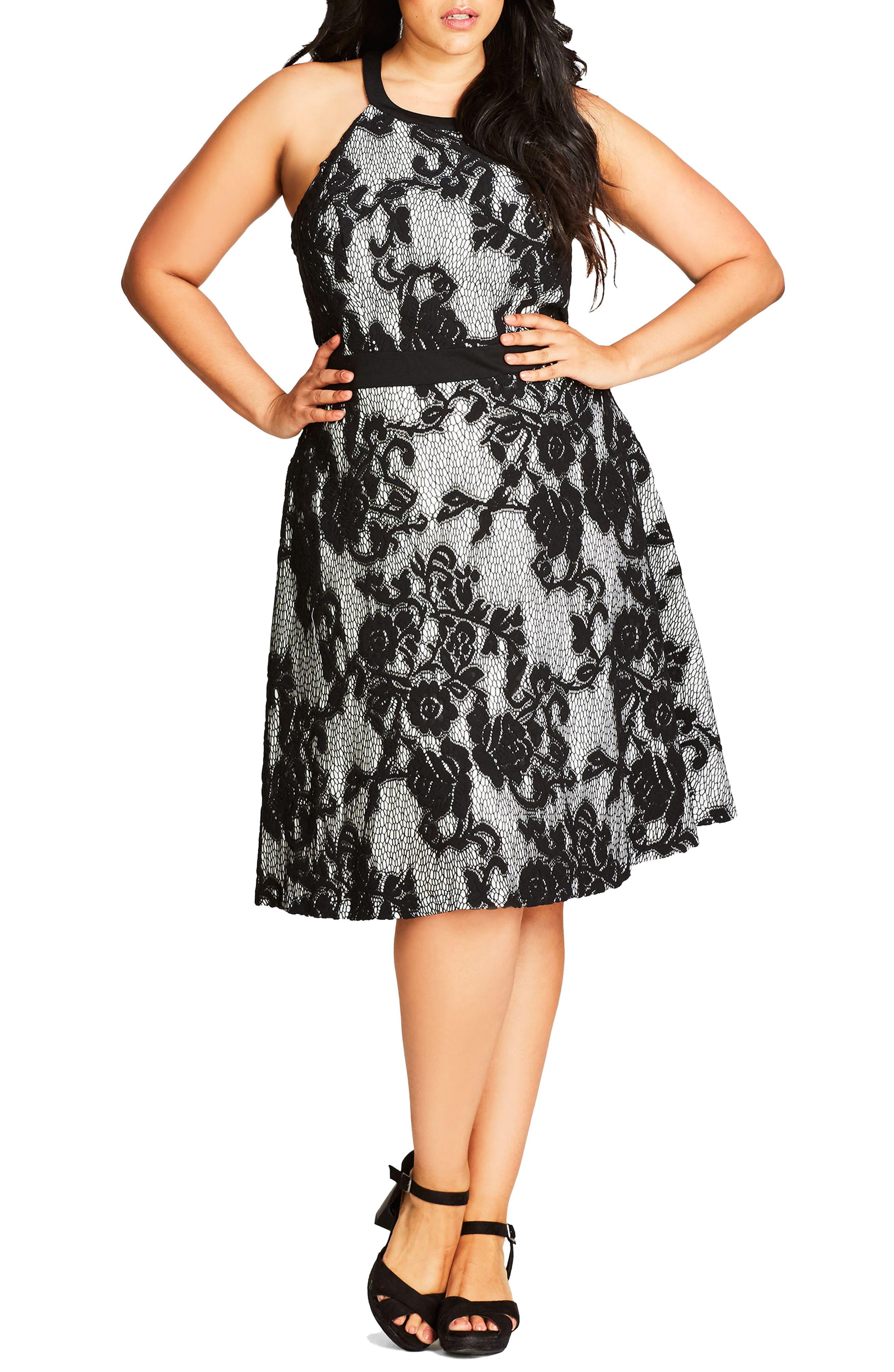 Lace Fit & Flare Dress,                             Main thumbnail 1, color,                             Grey