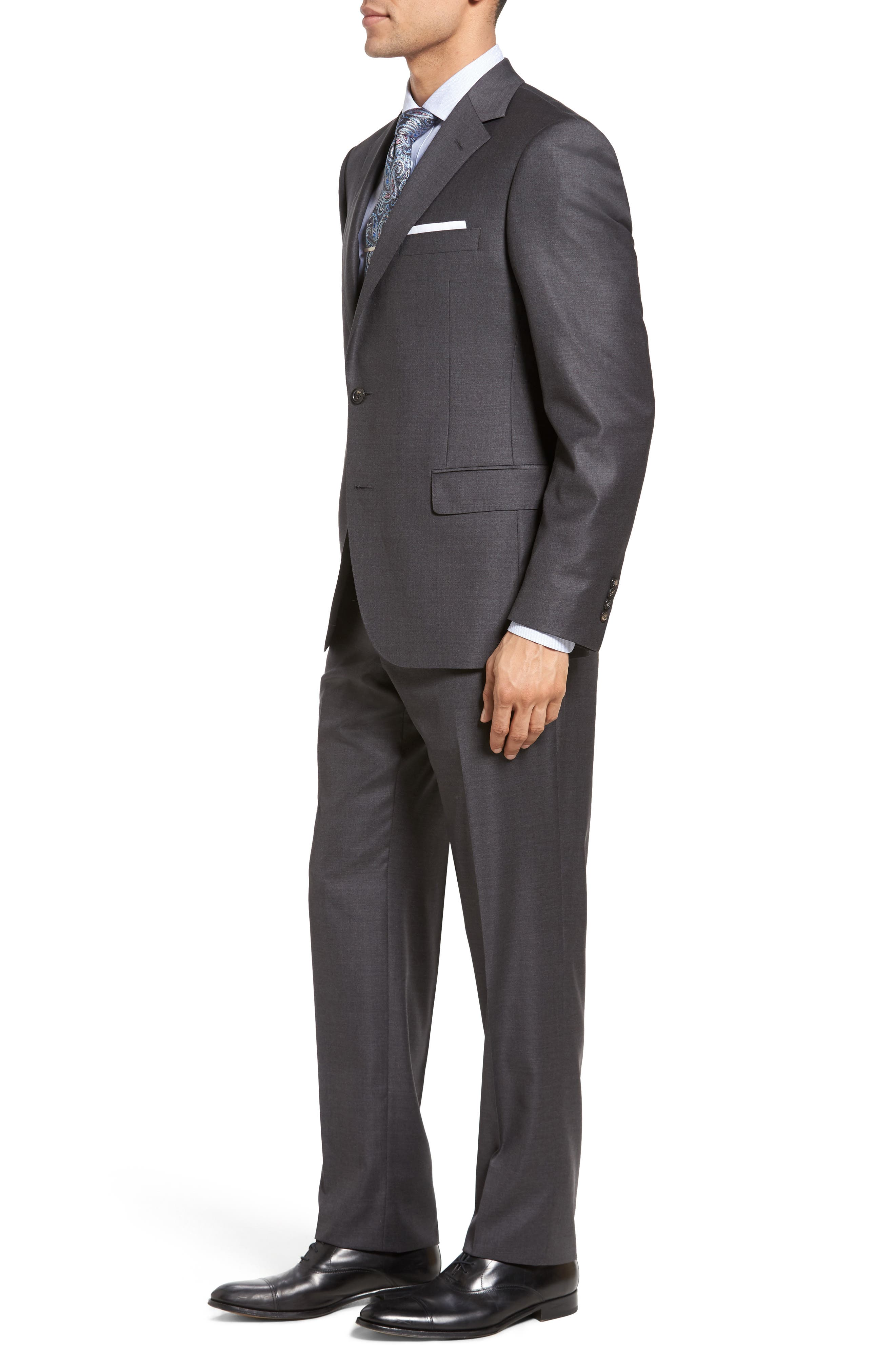Beckett Classic Fit Solid Wool Suit,                             Alternate thumbnail 3, color,                             Mid Grey
