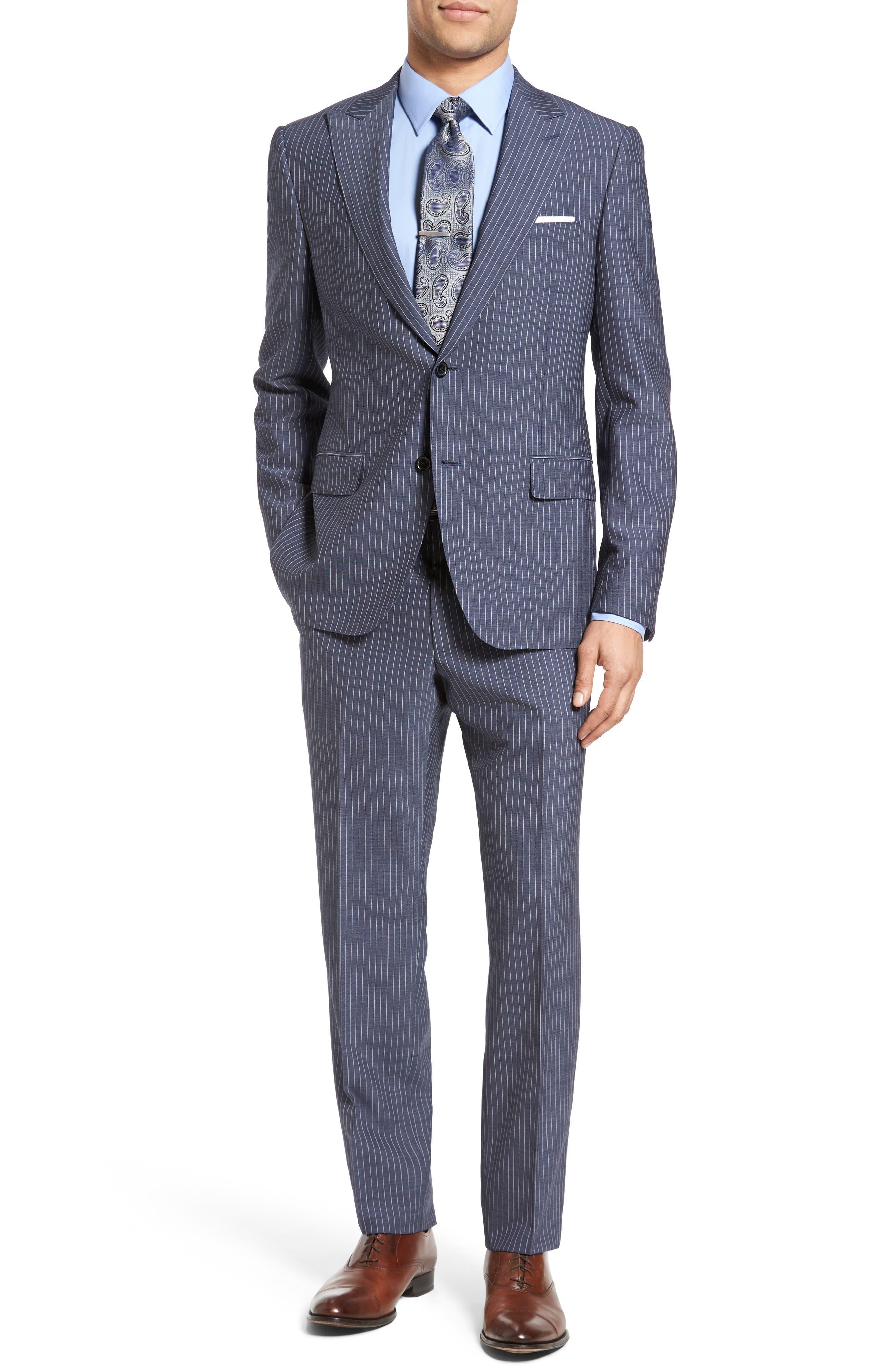 Beckett Classic Fit Stripe Wool Suit,                         Main,                         color, Light Blue