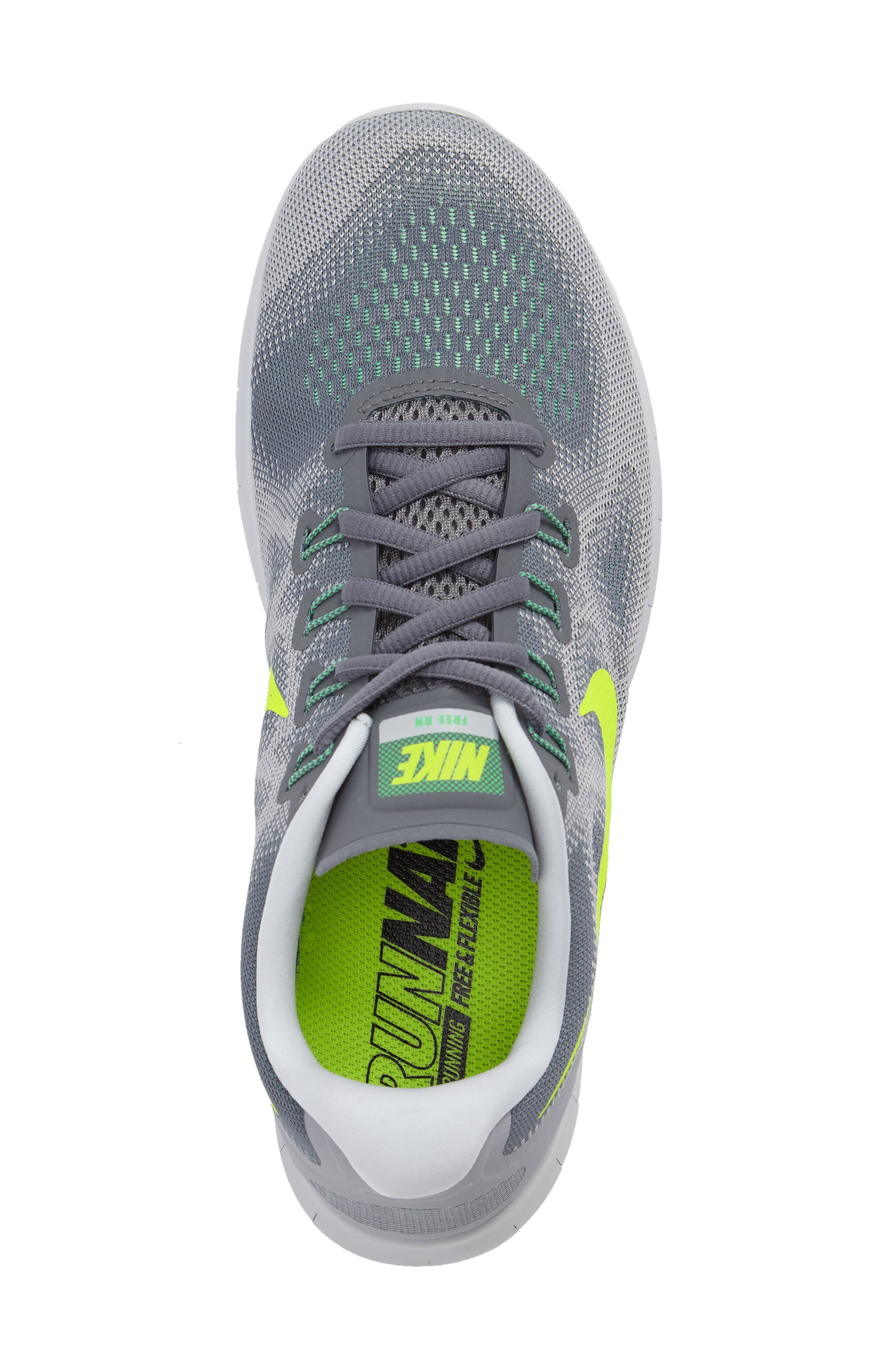 Free Run 2017 Running Shoe,                             Alternate thumbnail 5, color,                             Grey/ Volt/ Grey/ Green