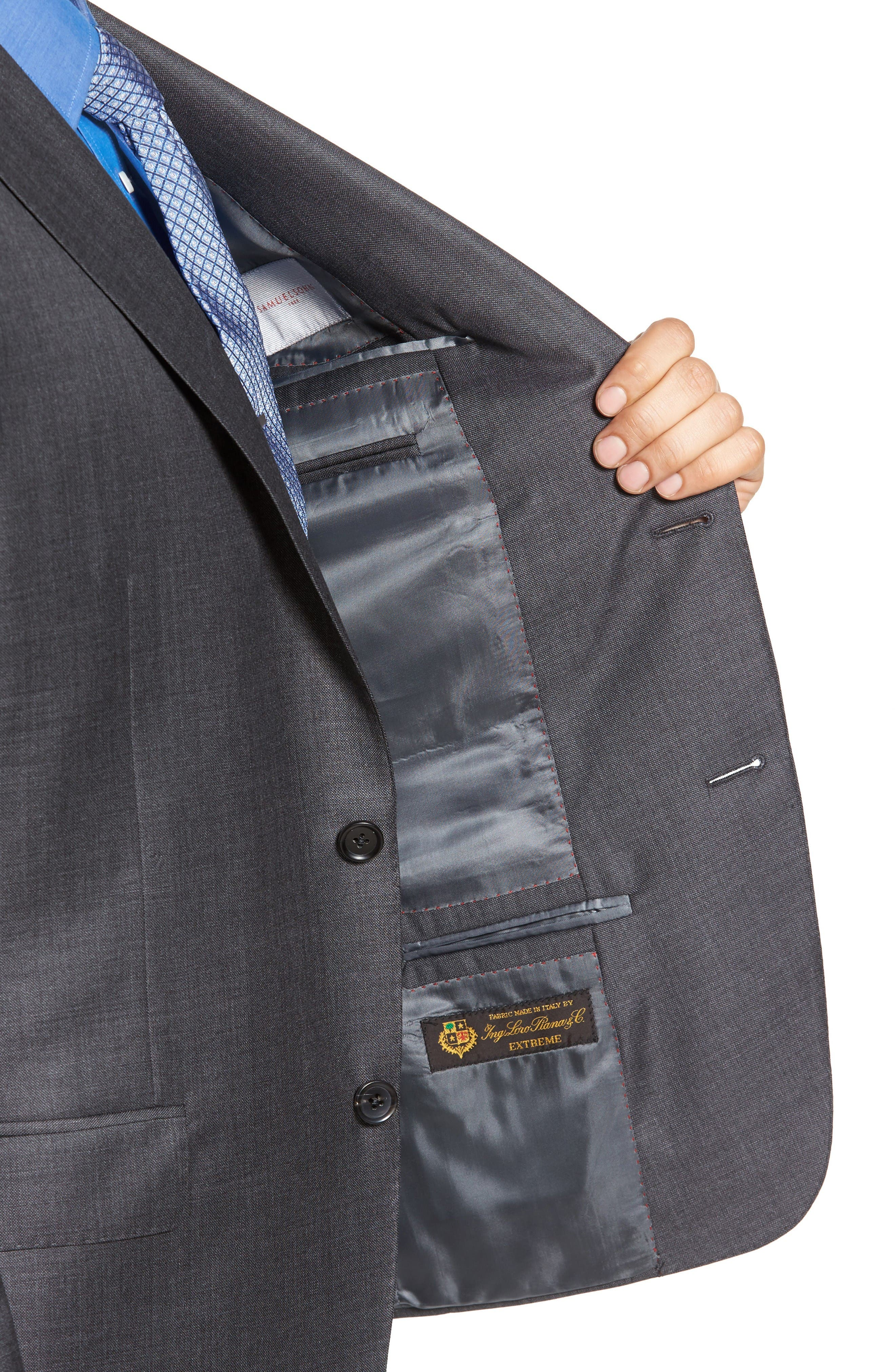 Beckett Classic Fit Sharkskin Wool Suit,                             Alternate thumbnail 4, color,                             Charcoal