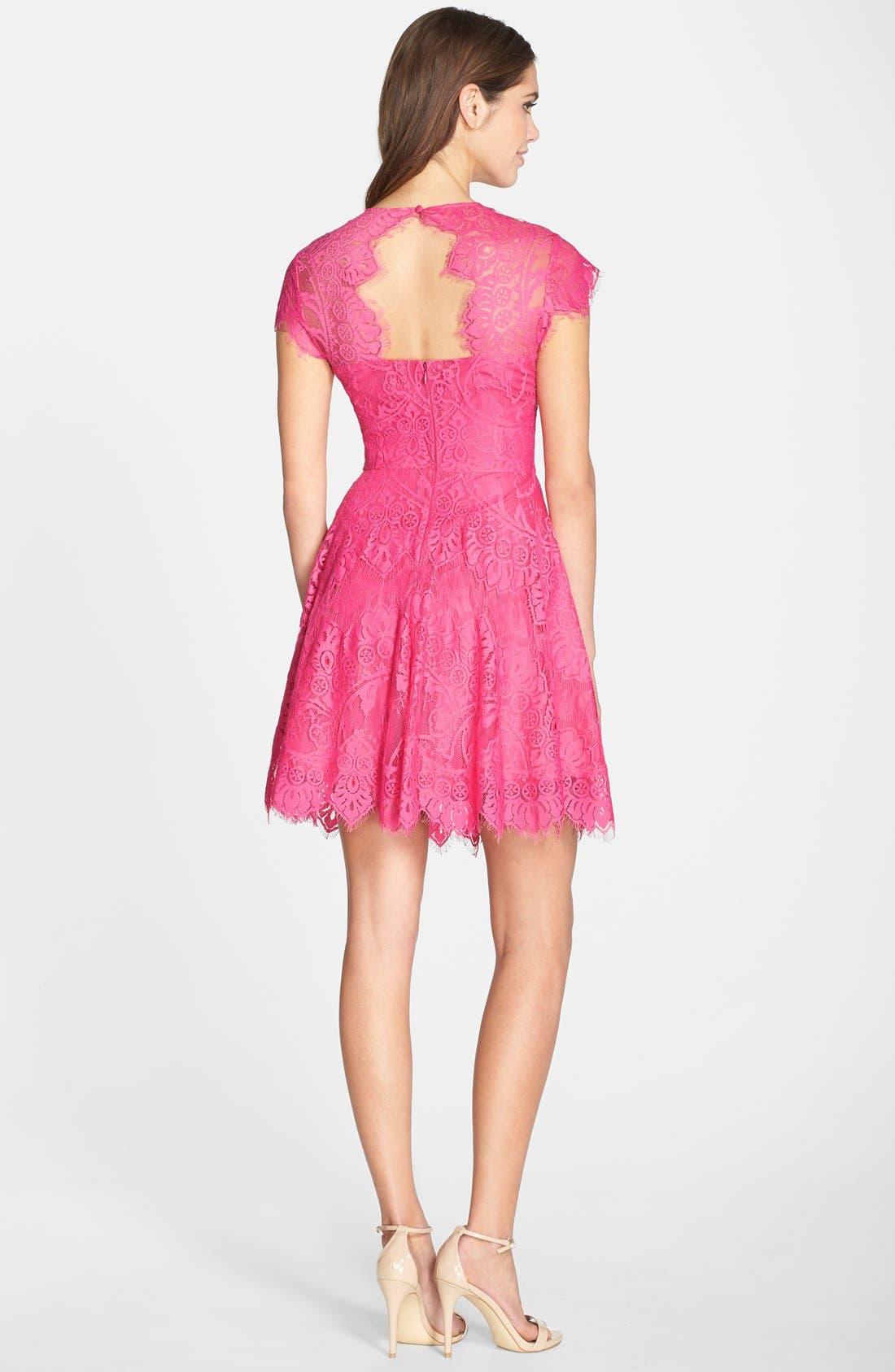 'Rhianna' Illusion Yoke Lace Fit & Flare Dress,                             Alternate thumbnail 2, color,                             Fuchsia/ Rose