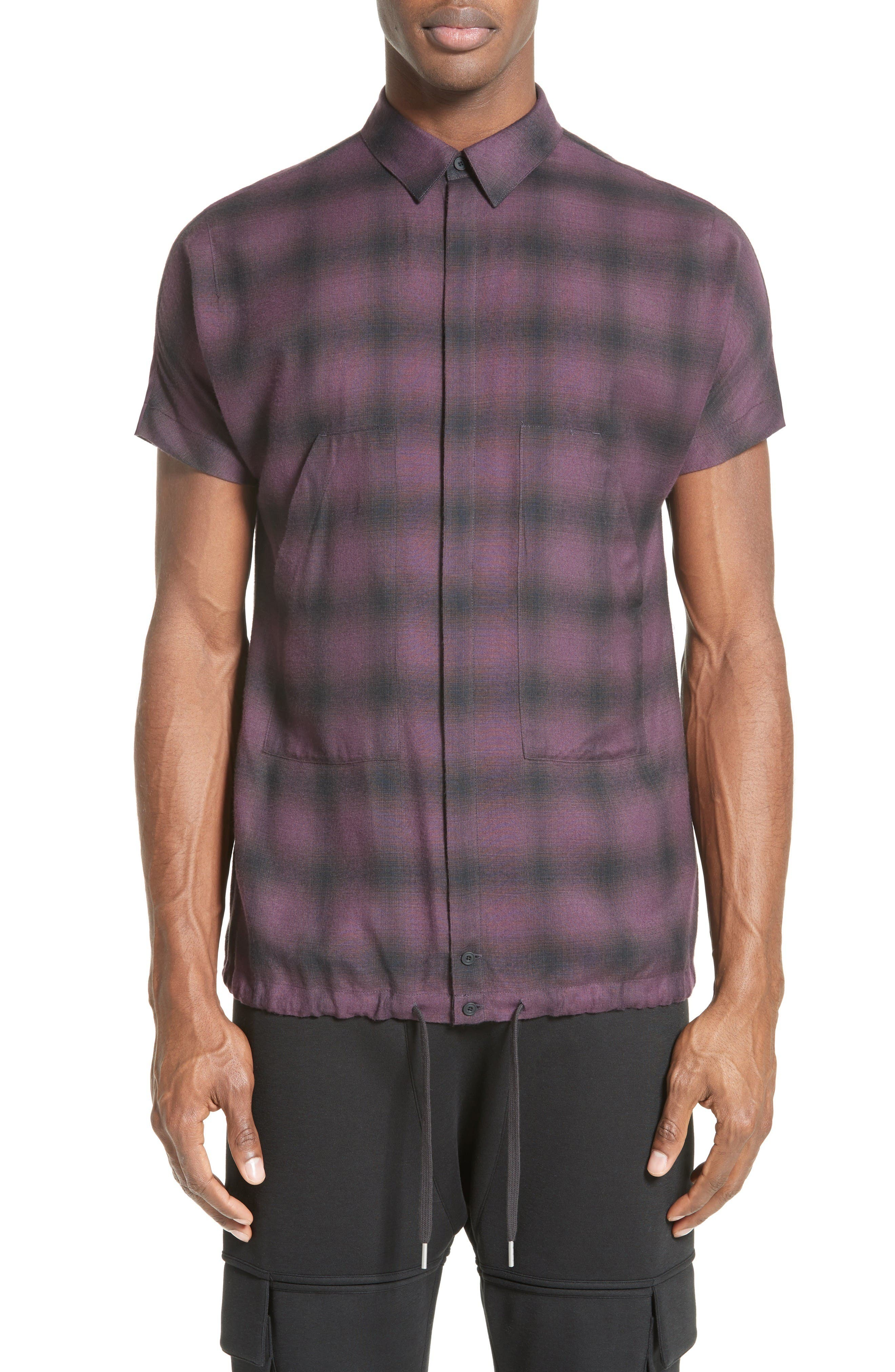 Alternate Image 1 Selected - Helmut Lang Ombré Check Short Sleeve Sport Shirt