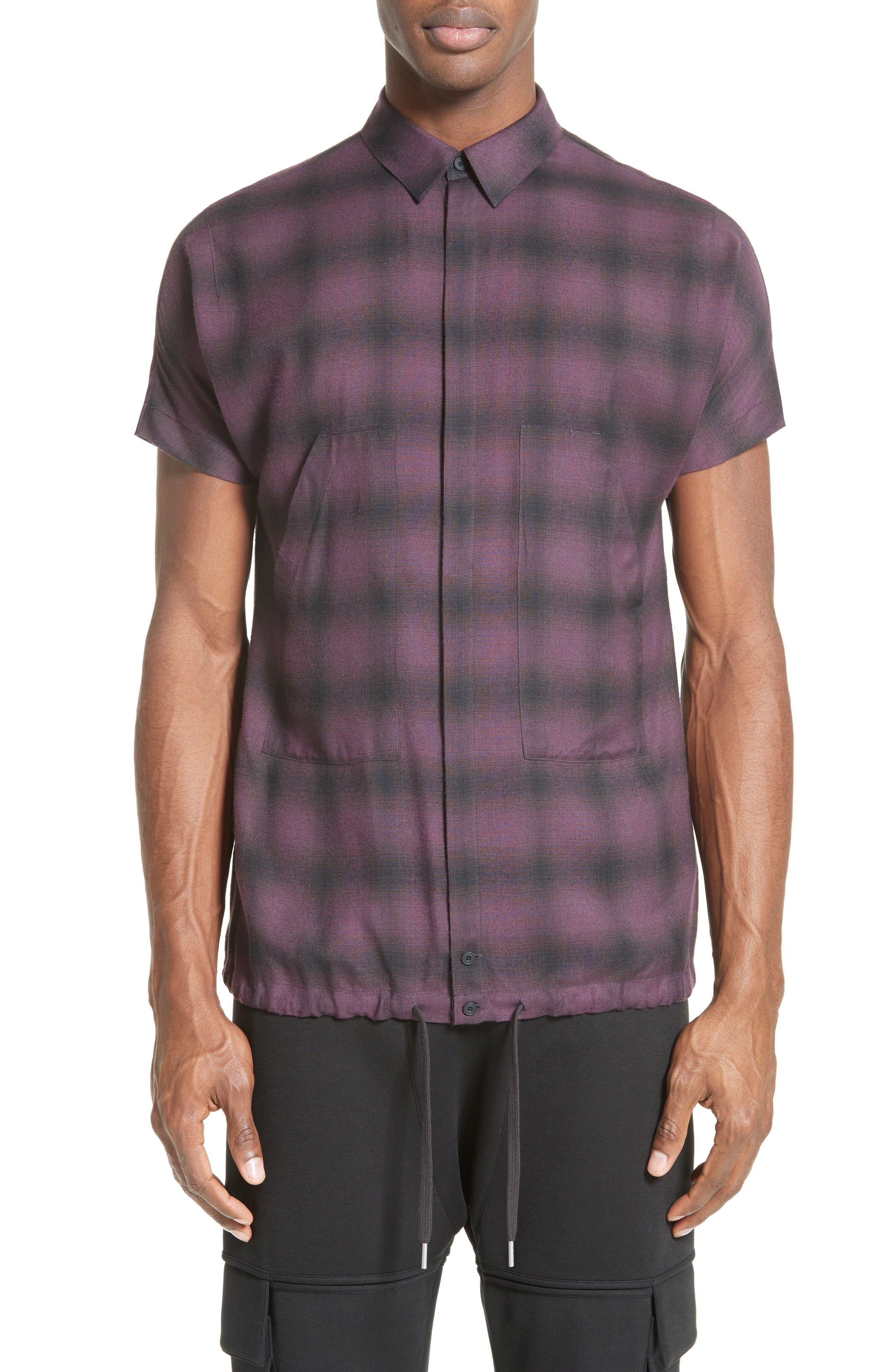 Helmut Lang Ombré Check Short Sleeve Sport Shirt
