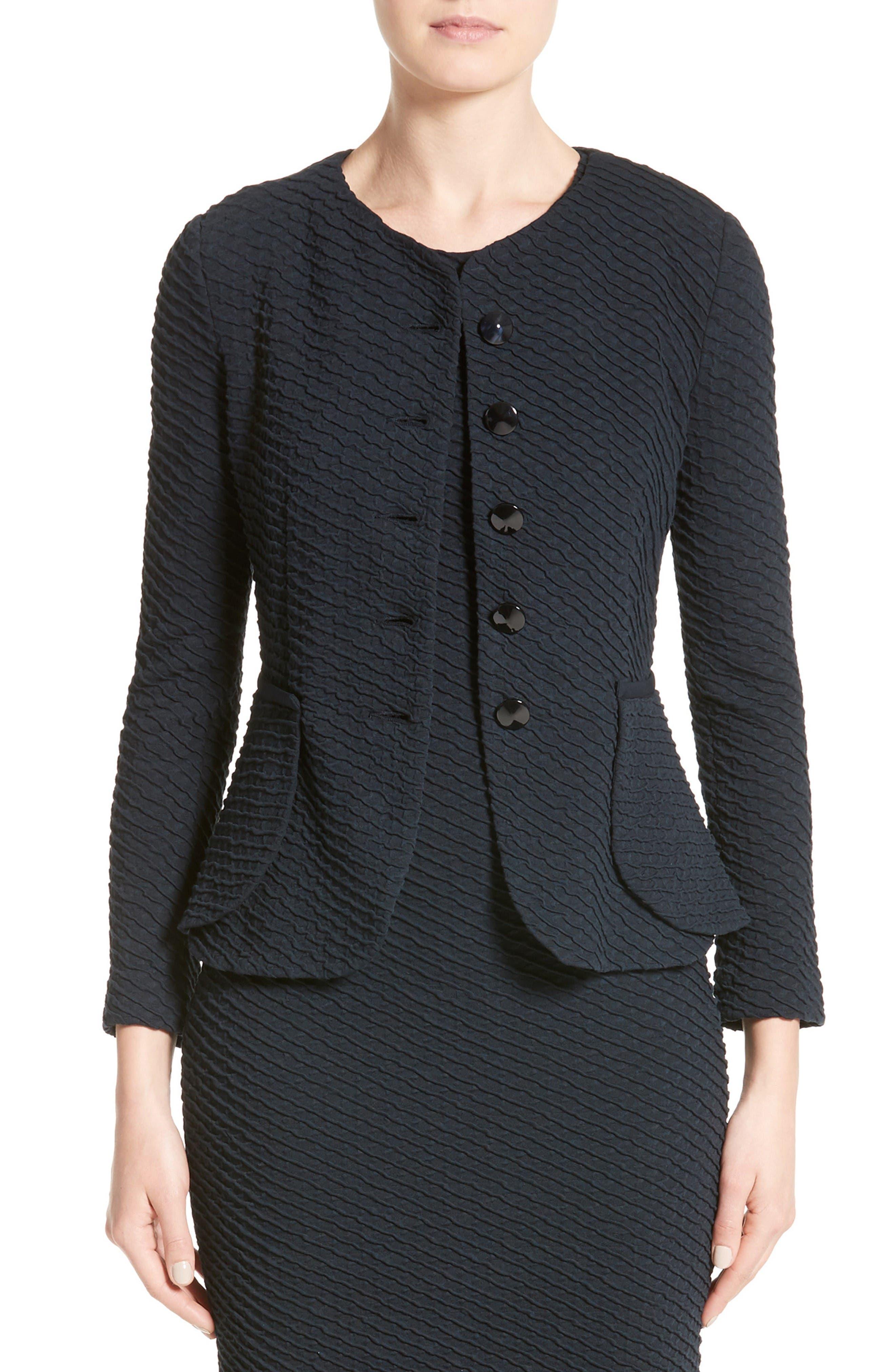 Armani Collezioni Diagonal Jacquard Peplum Jacket