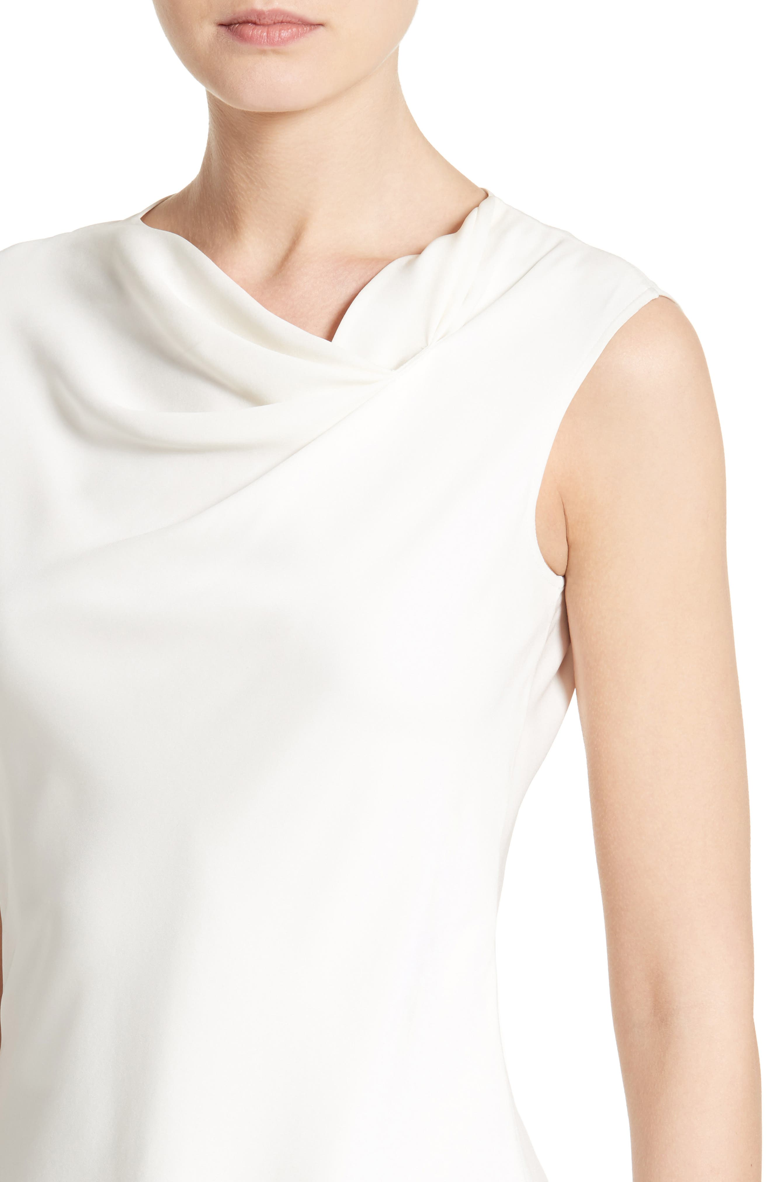 Cowl Neck Stretch Silk Charmeuse Top,                             Alternate thumbnail 6, color,                             Off White