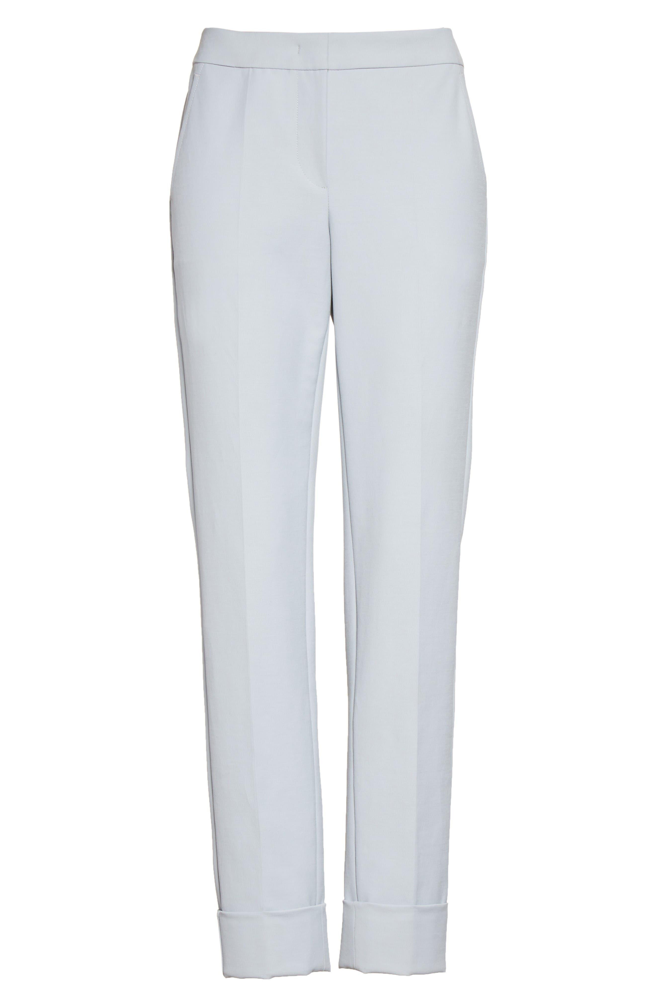 Armani Collezion Tech Cotton Cuff Pants,                             Alternate thumbnail 4, color,                             Cloud