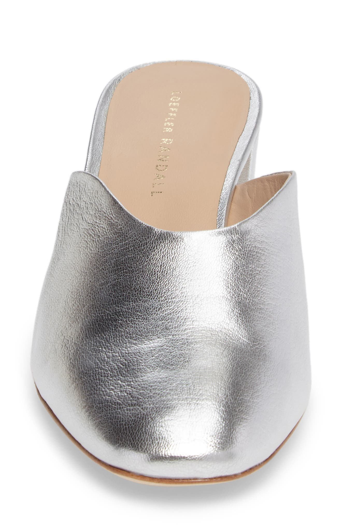 Lulu Block Heel Mule,                             Alternate thumbnail 4, color,                             Silver Leather