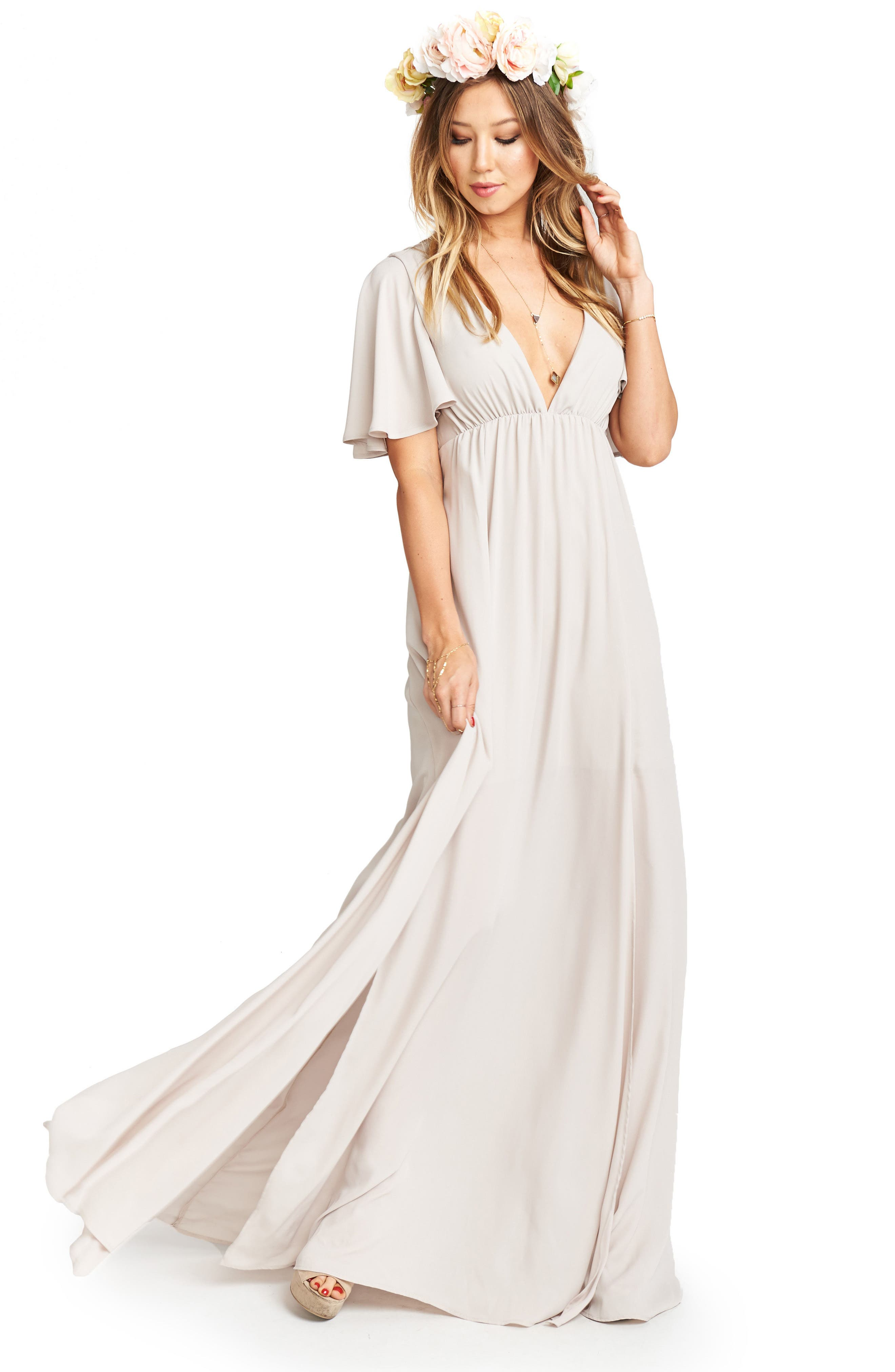 Faye Chiffon Gown,                             Alternate thumbnail 4, color,                             Show Me The Ring