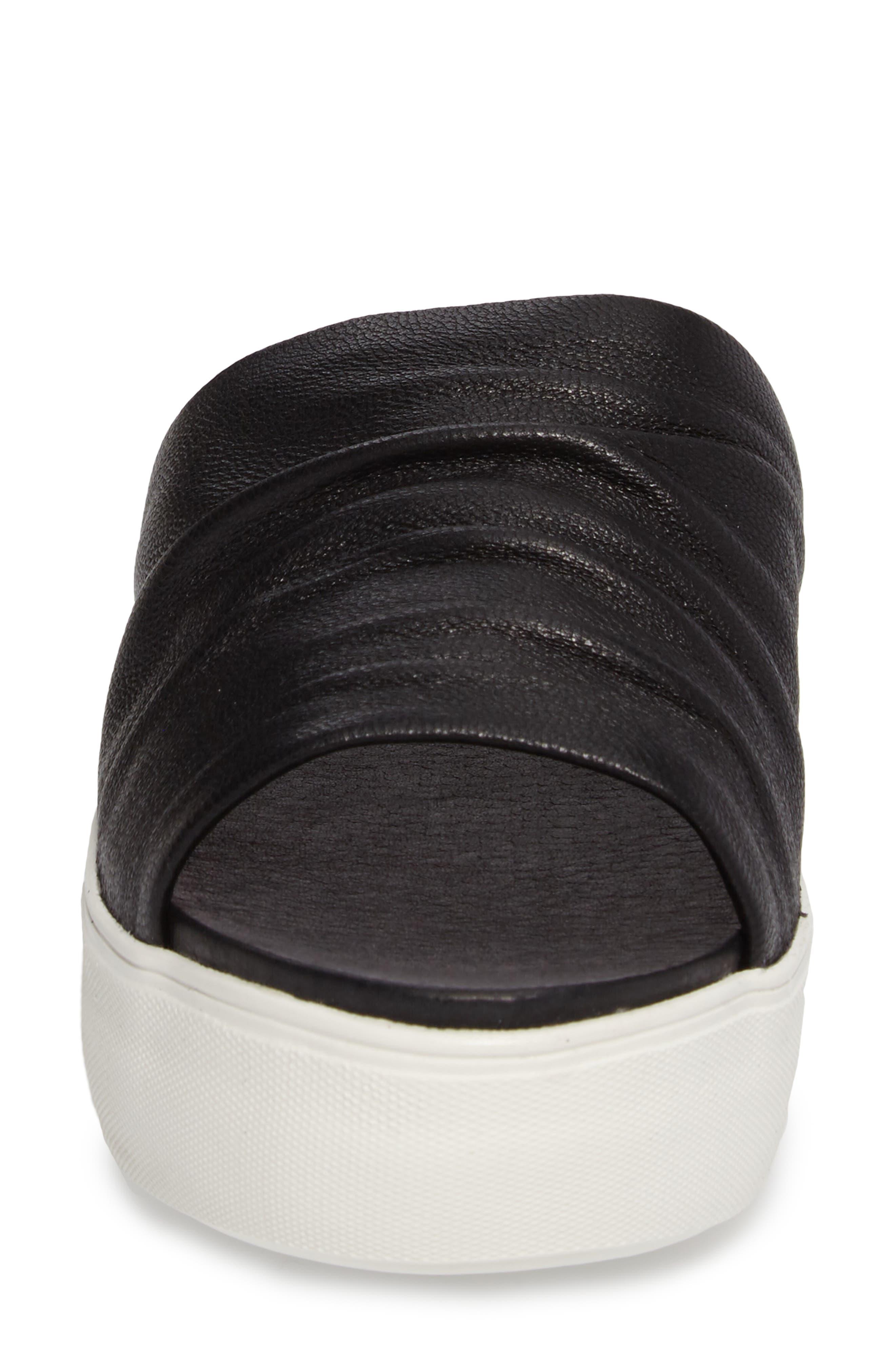 Alura Platform Slide Sandal,                             Alternate thumbnail 4, color,                             Black Leather