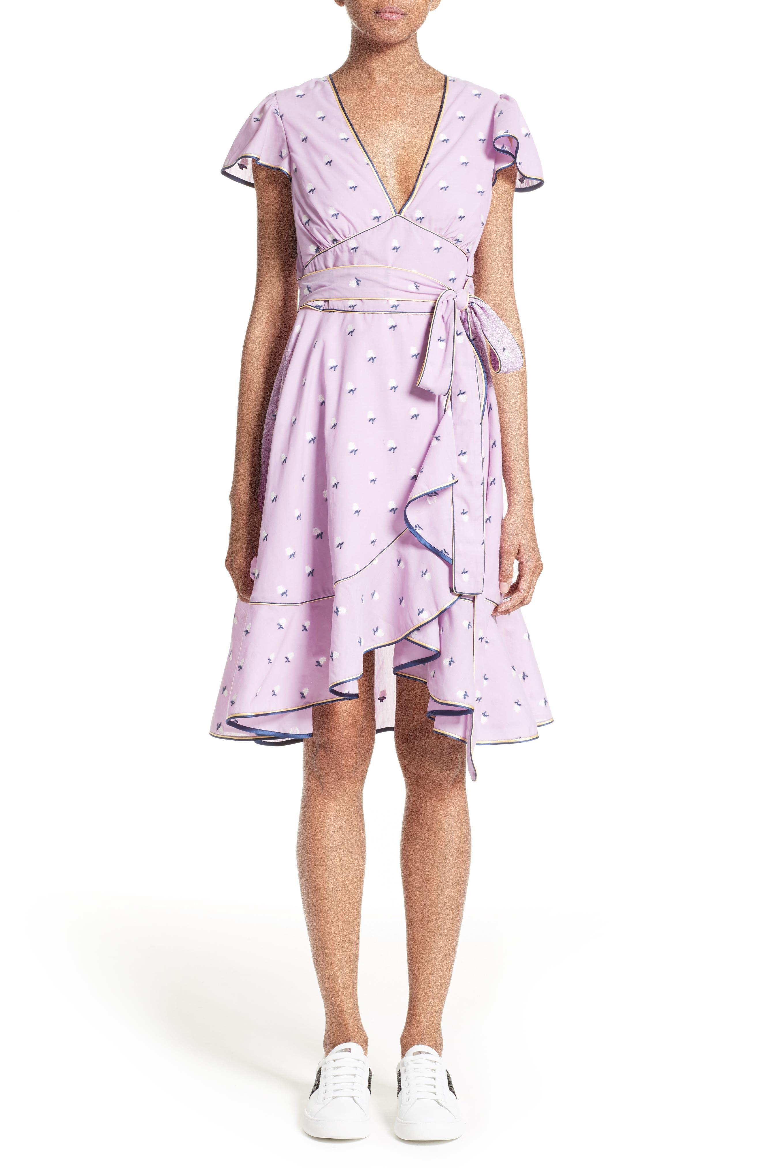 Ruffle Reverse Fil Coupé Dress,                         Main,                         color, Light Purple Multi