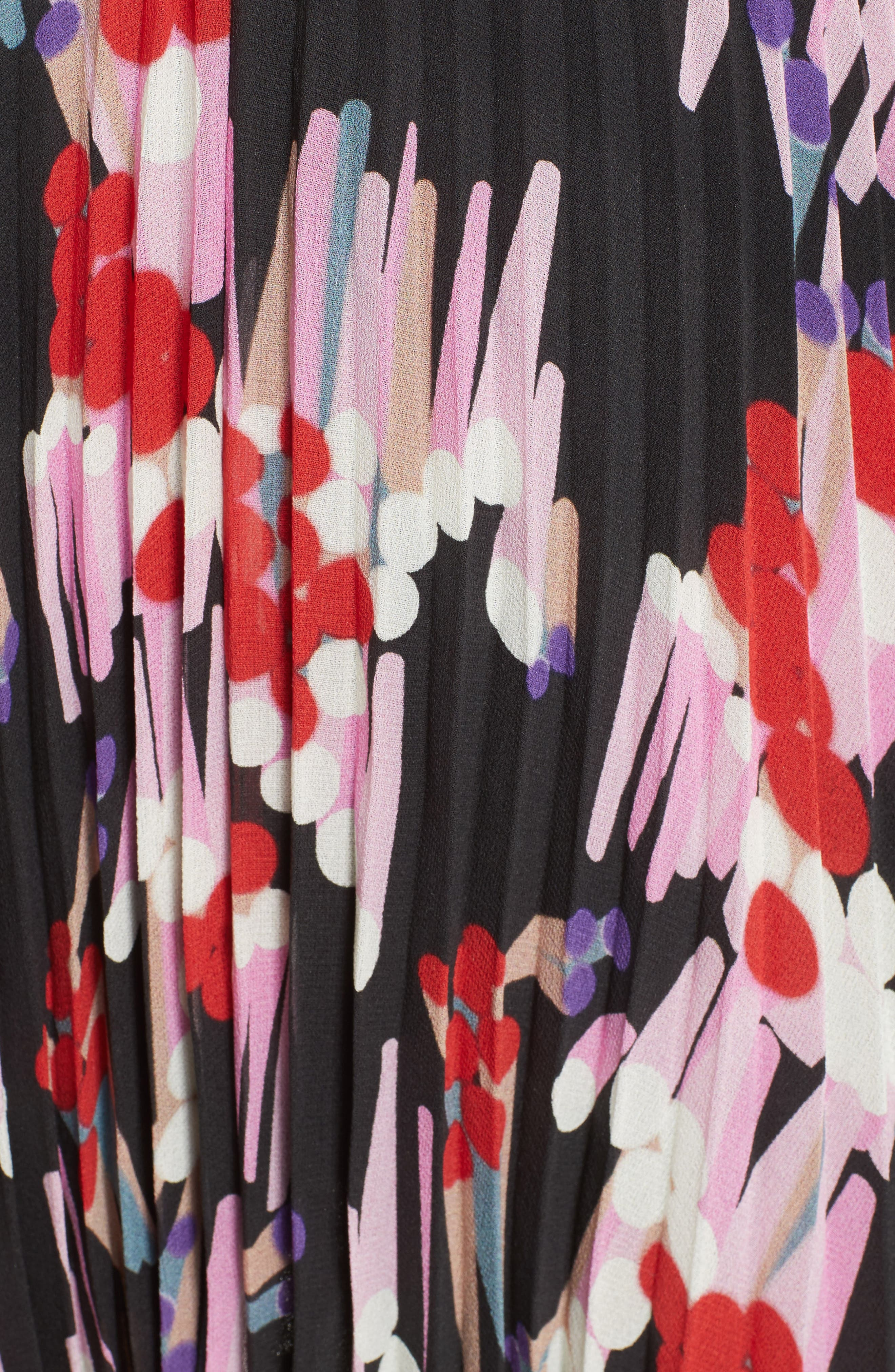 Pleated Print Silk Skirt,                             Alternate thumbnail 3, color,                             Black Multi