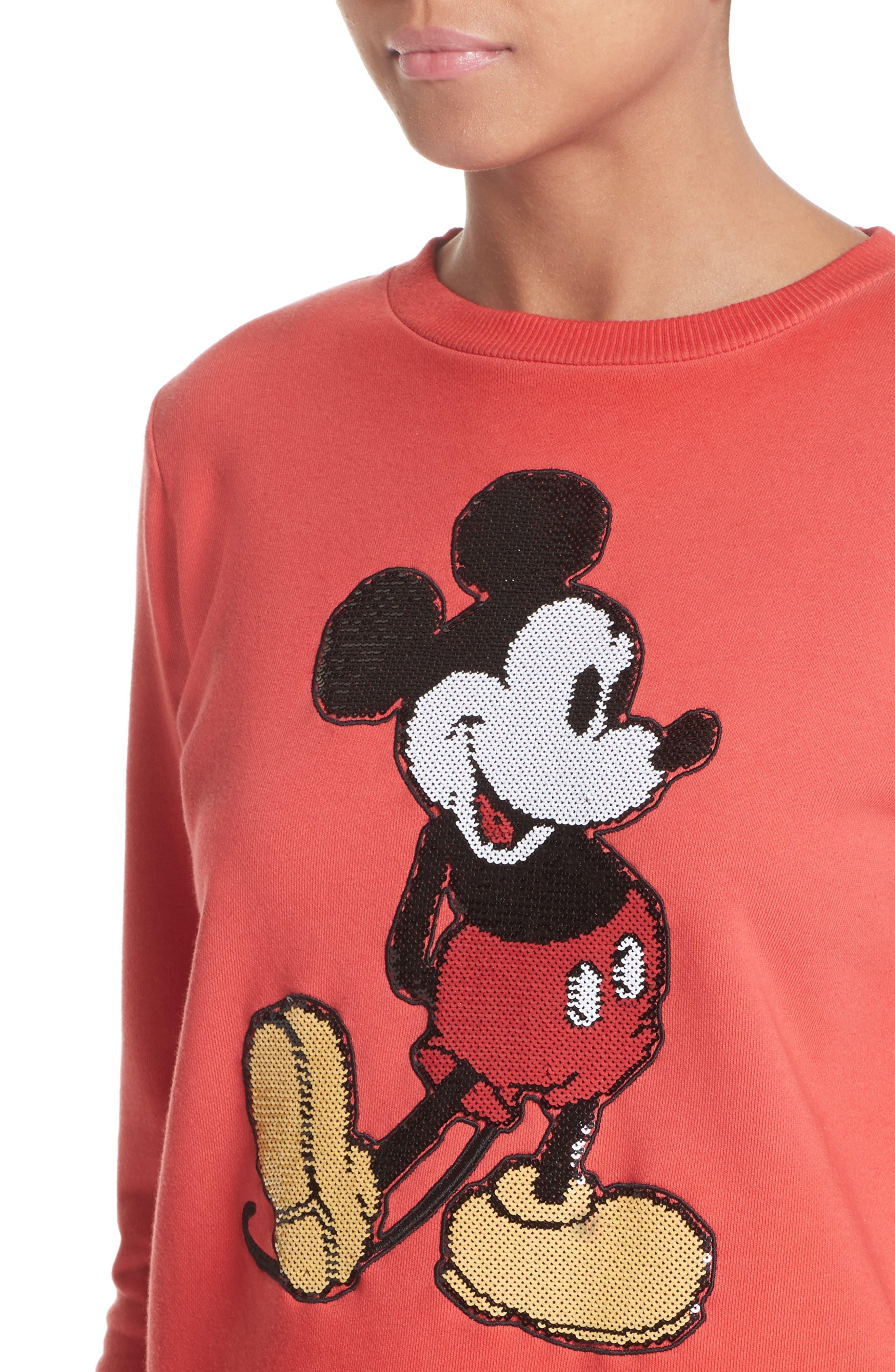 Mickey Shrunken Sweatshirt,                             Alternate thumbnail 7, color,                             Red