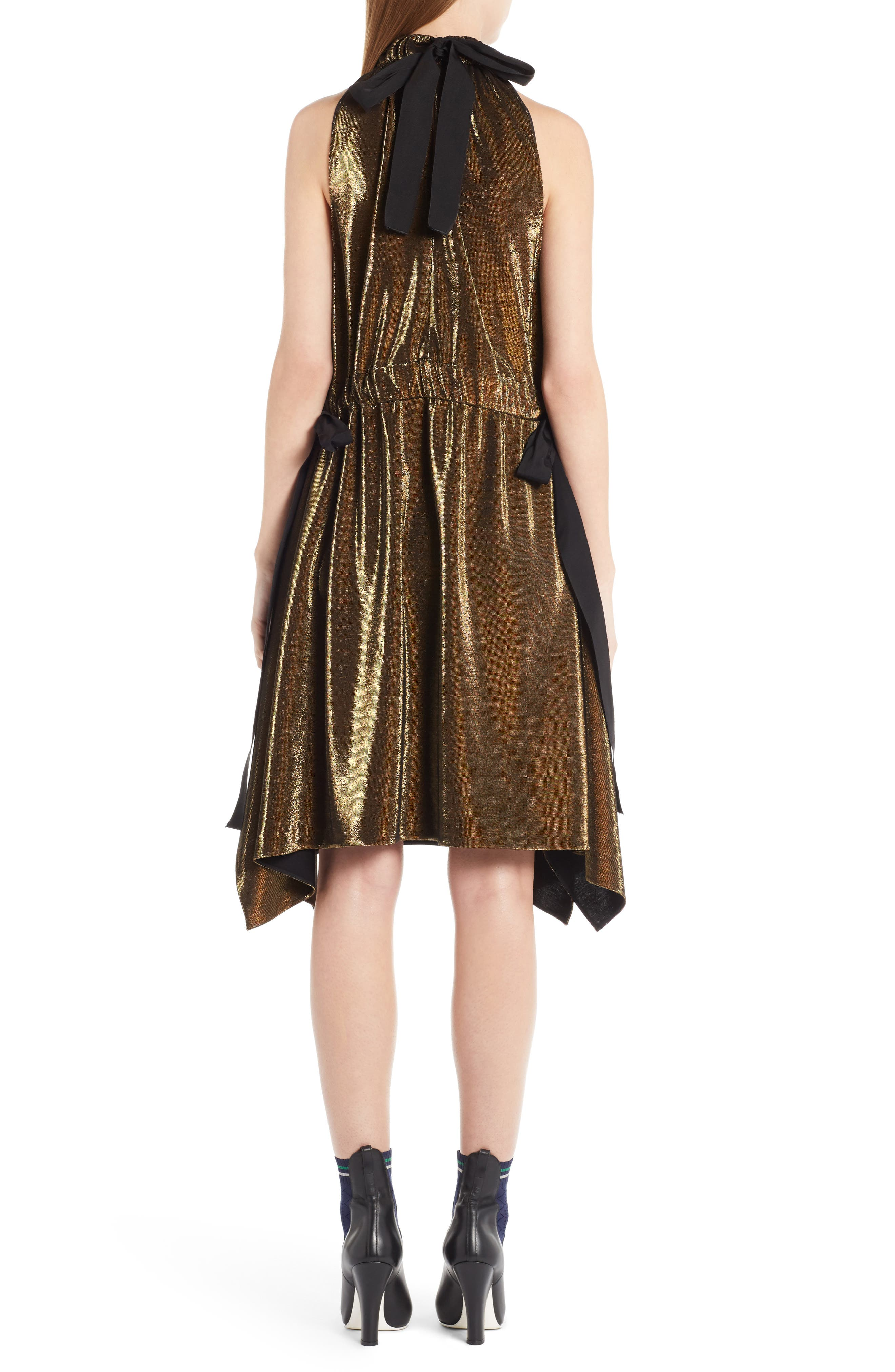 Alternate Image 2  - Fendi Metallic Jersey Halter Dress
