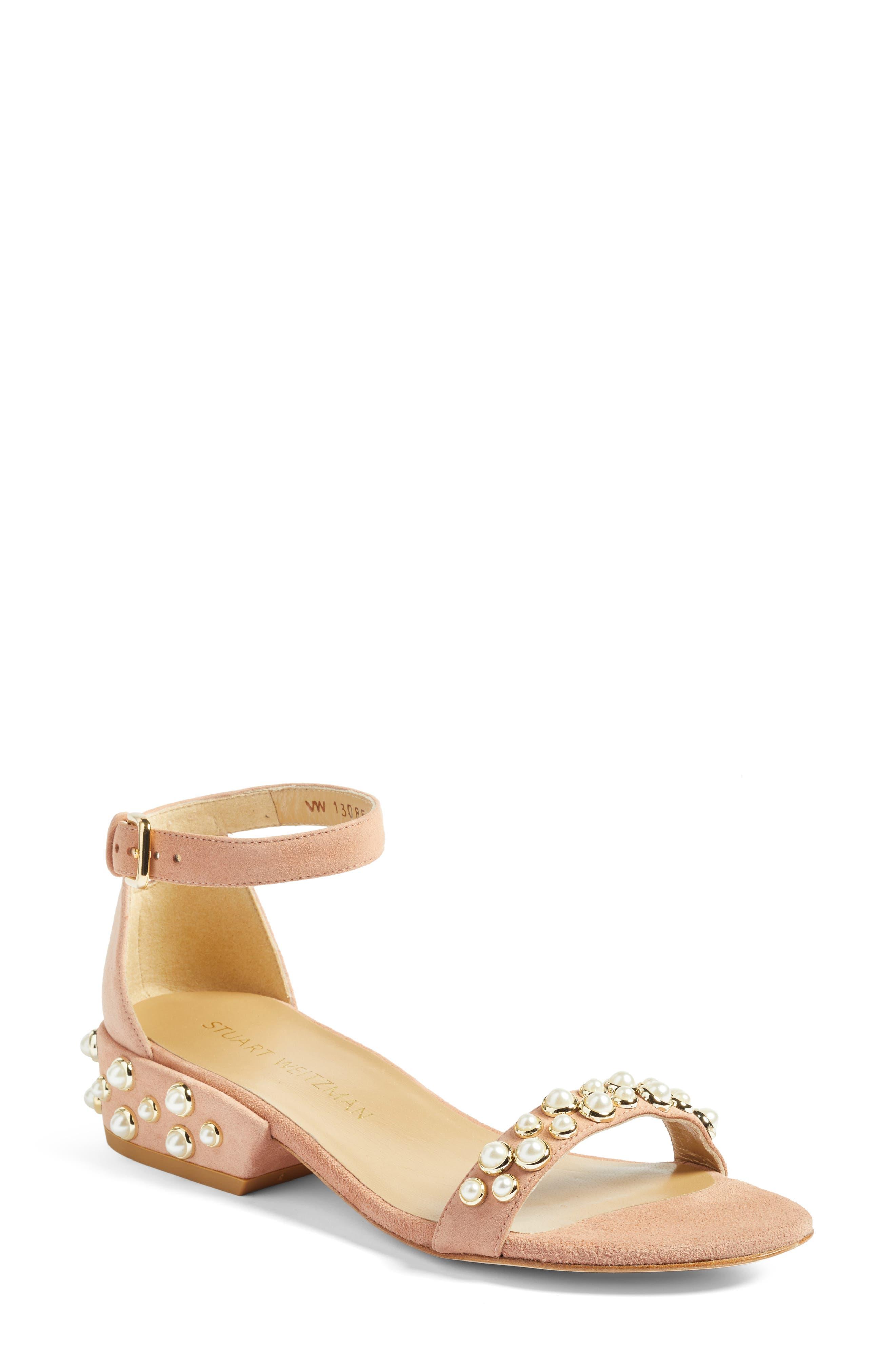 Main Image - Stuart Weitzman Allpearls Ankle Strap Sandal (Women)