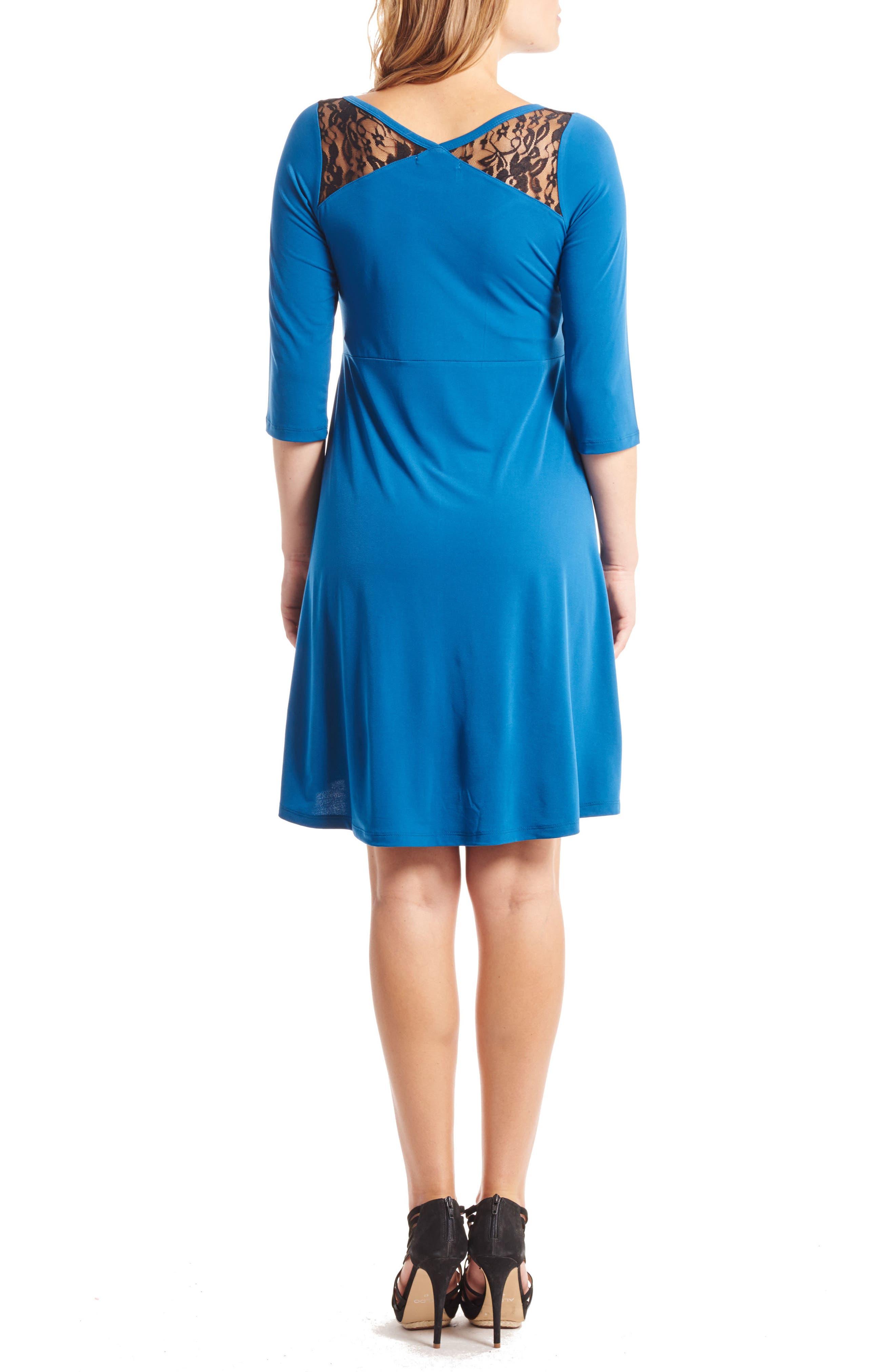 Pipa Maternity Skater Dress,                             Alternate thumbnail 2, color,                             Cerulean