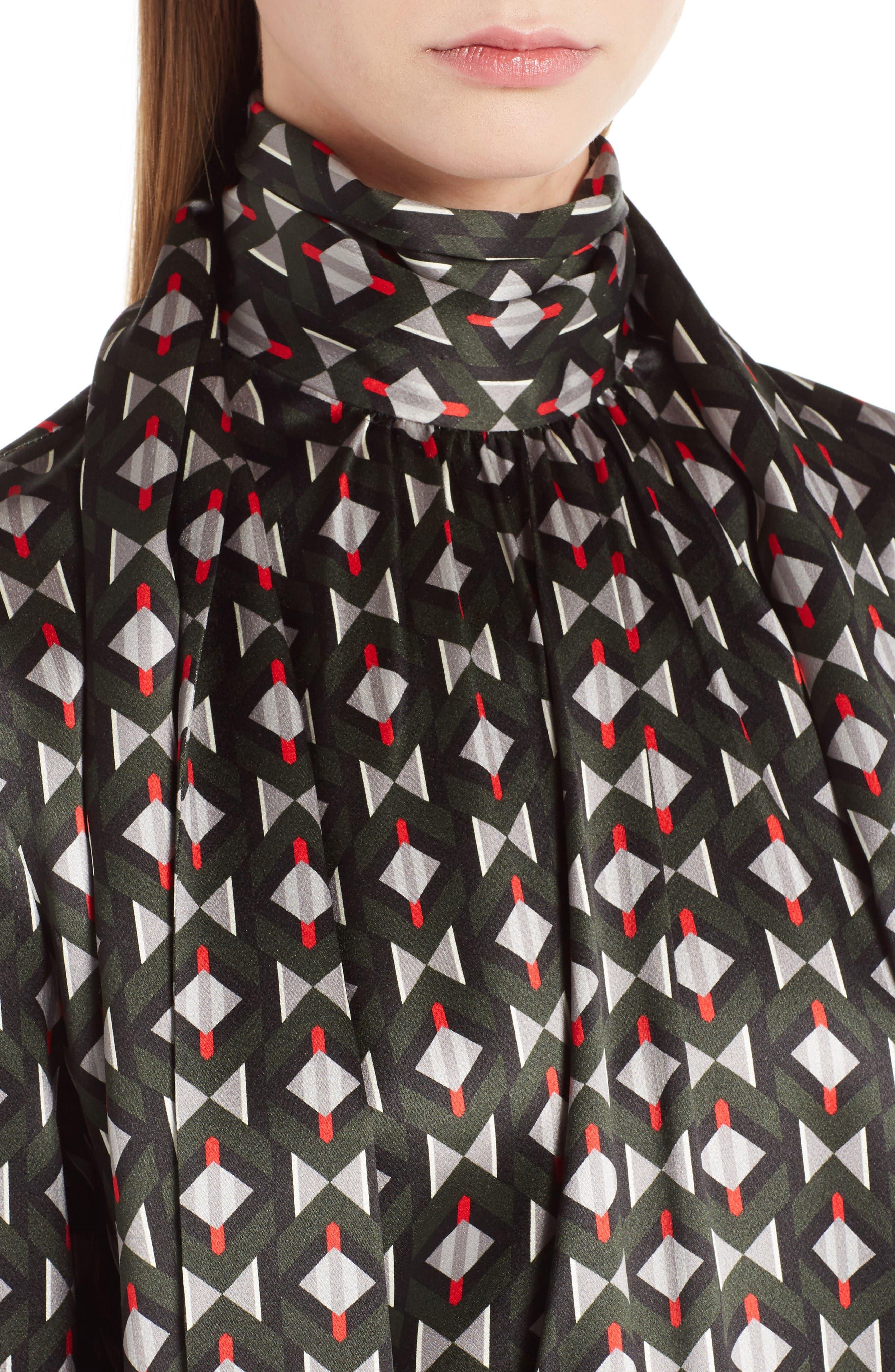 Silk Satin Tie Neck Blouse,                             Alternate thumbnail 4, color,                             Color Block