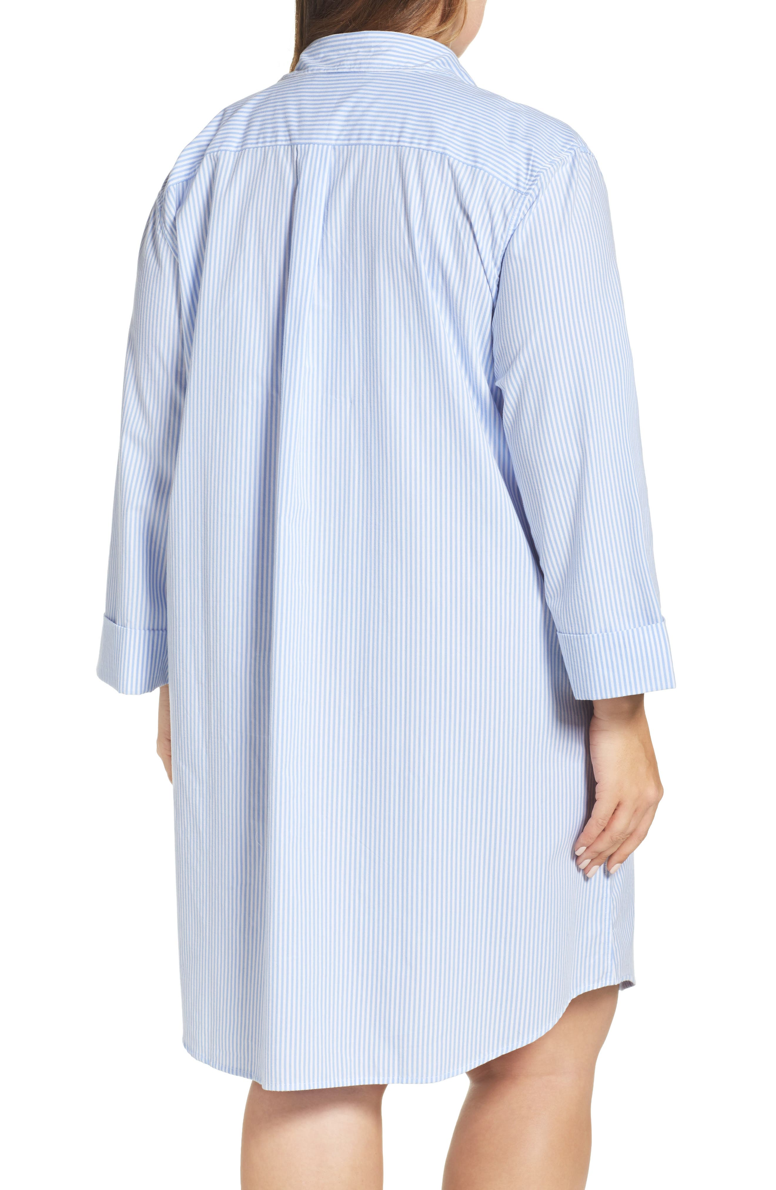 Sleep Shirt,                             Alternate thumbnail 2, color,                             Stripe French Blue/ White