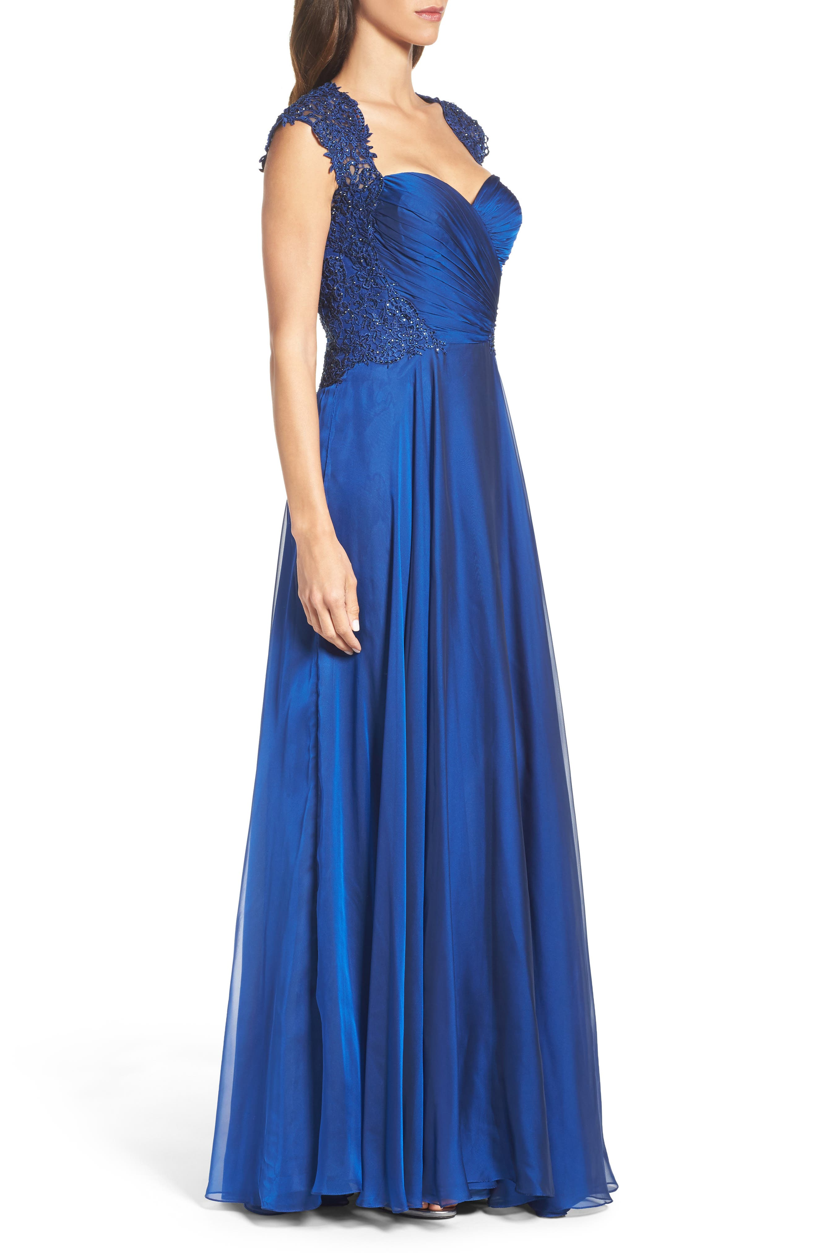 Ruched Chiffon Gown,                             Alternate thumbnail 3, color,                             Marine Blue
